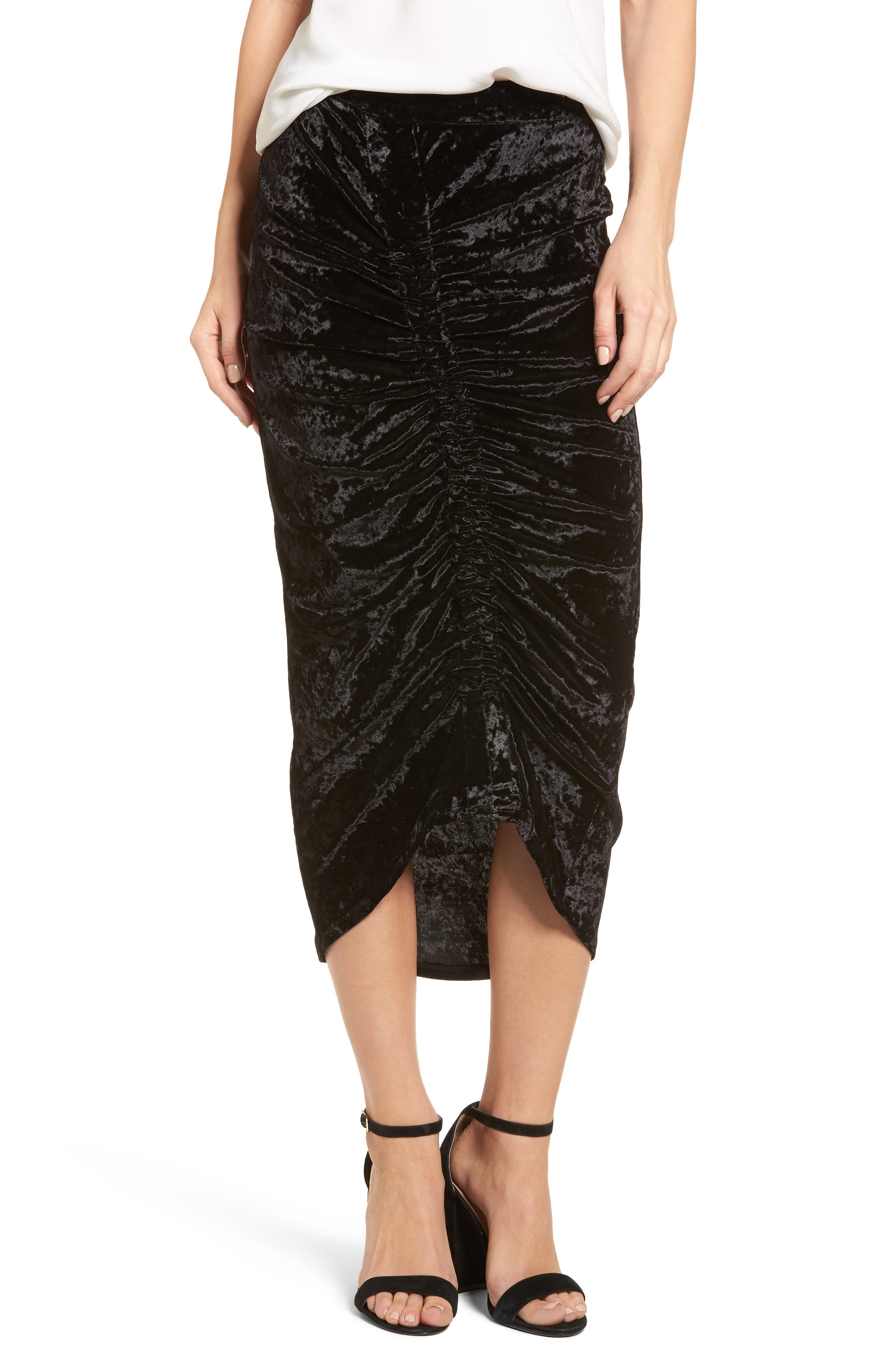 Velvet Midi Skirt,                             Main thumbnail 1, color,