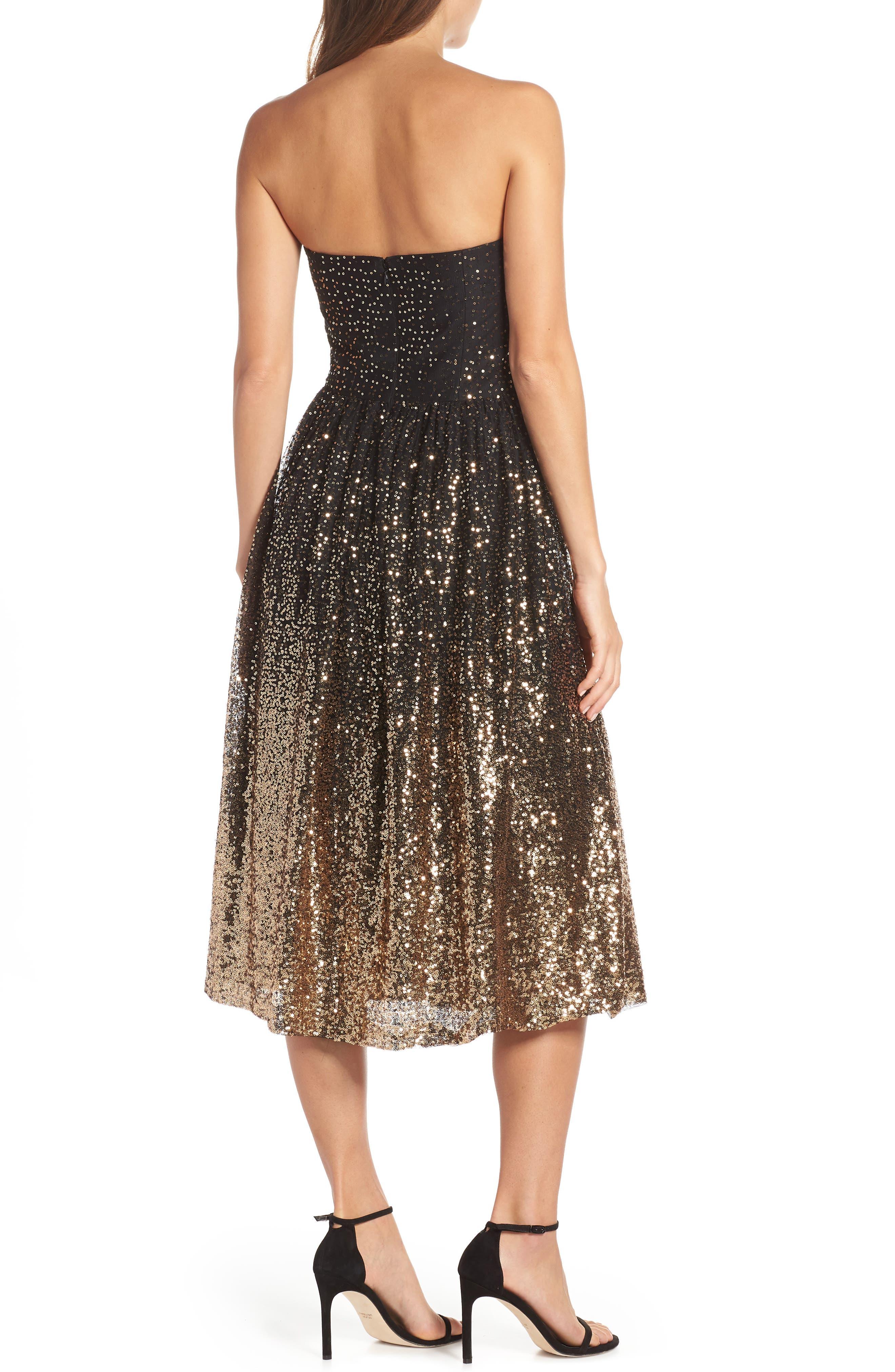 Strapless Midi Dress,                             Alternate thumbnail 2, color,                             BLACK GOLD