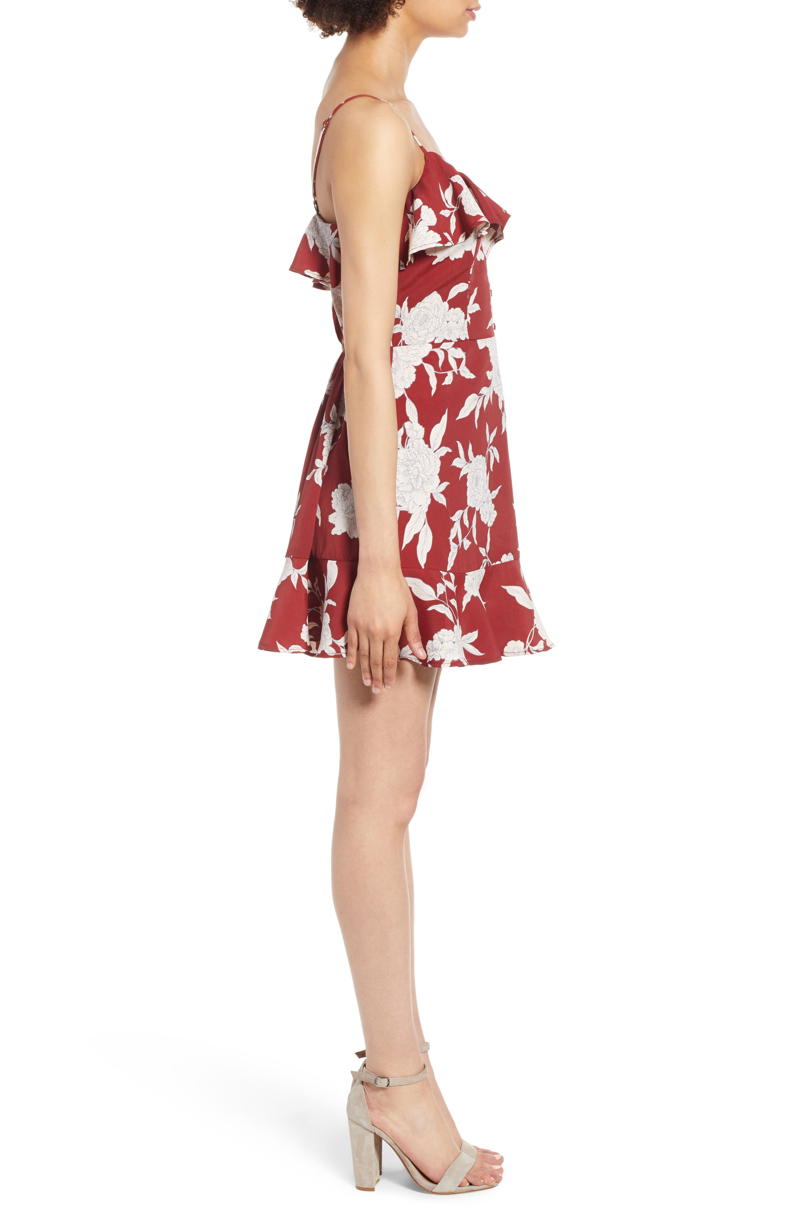 Floral Print Ruffle Dress,                             Alternate thumbnail 3, color,                             600