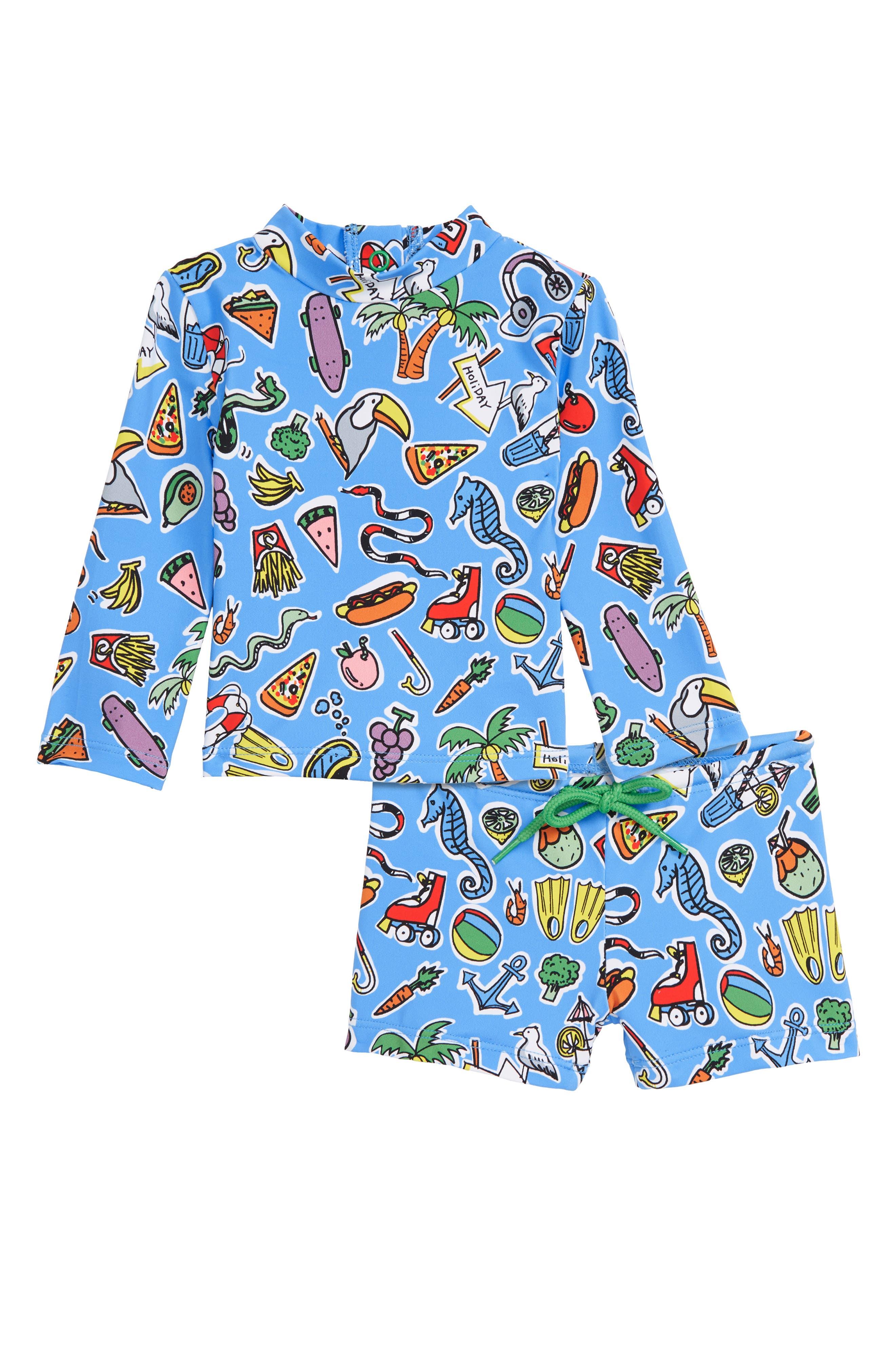 Stella McCartney Print Two-Piece Rashguard Swimsuit, Main, color, BLUE