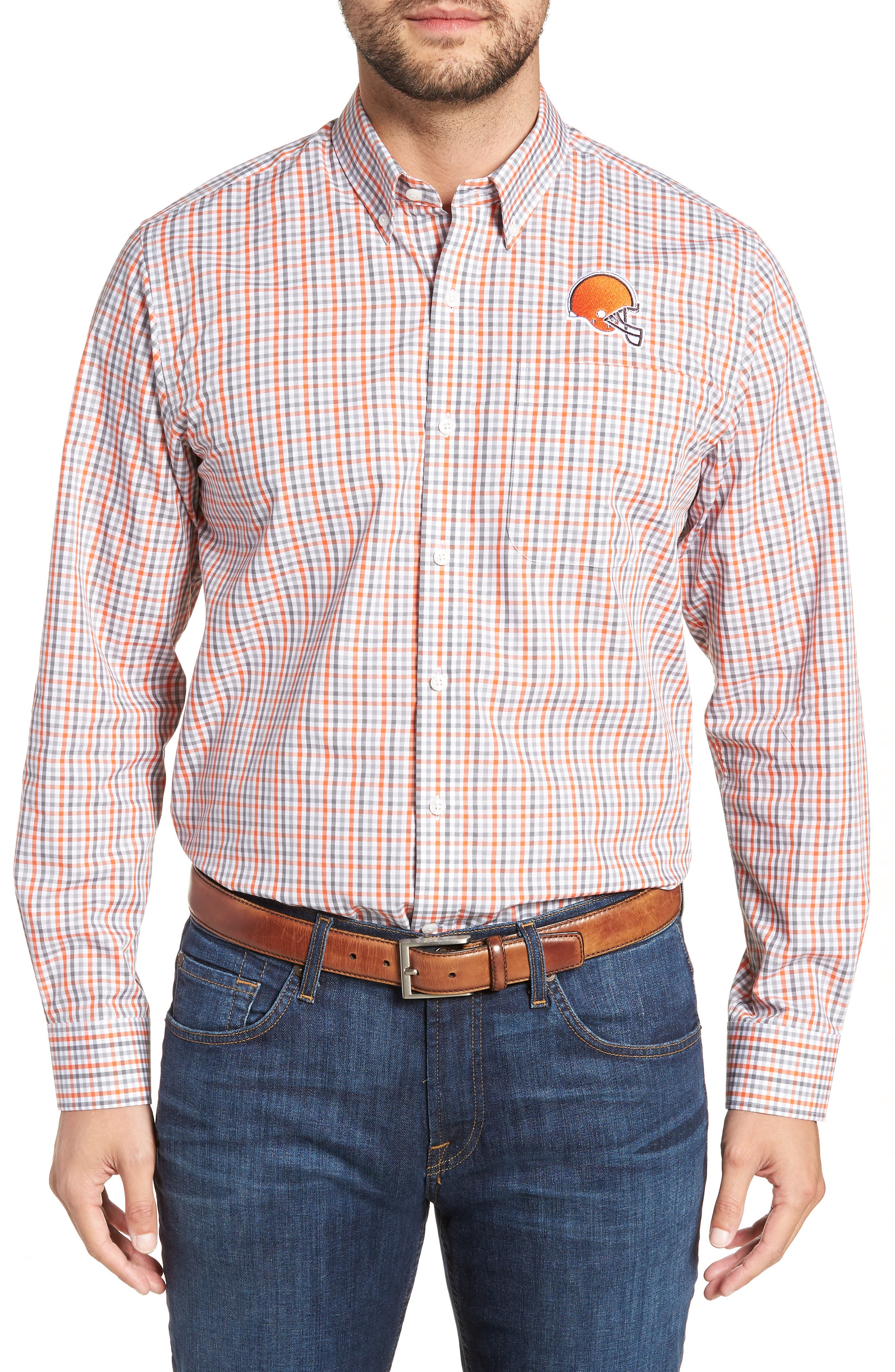 Cleveland Browns - Gilman Regular Fit Plaid Sport Shirt,                             Main thumbnail 1, color,                             COLLEGE ORANGE