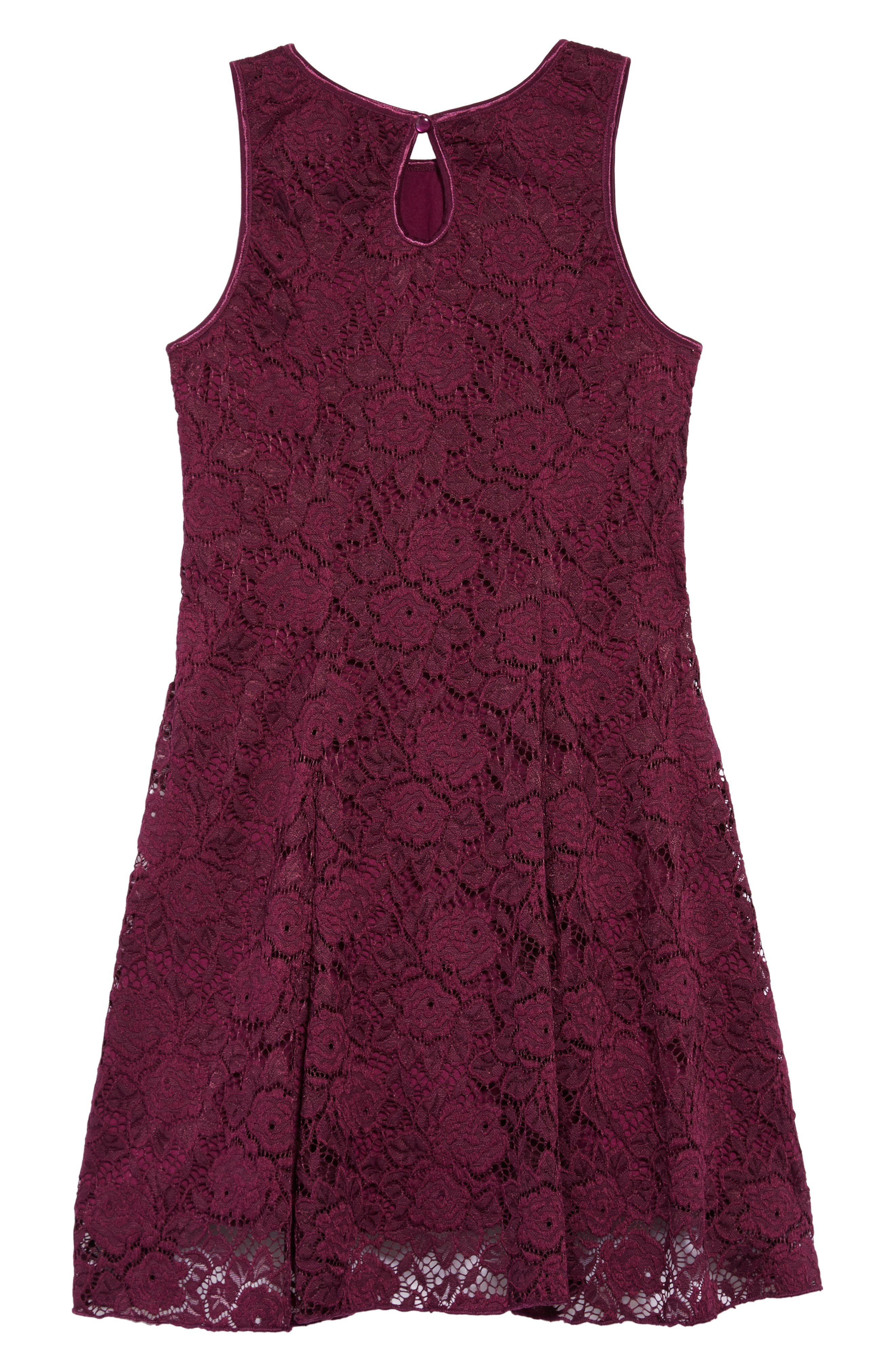 Lace Skater Dress,                             Alternate thumbnail 2, color,                             PLUM