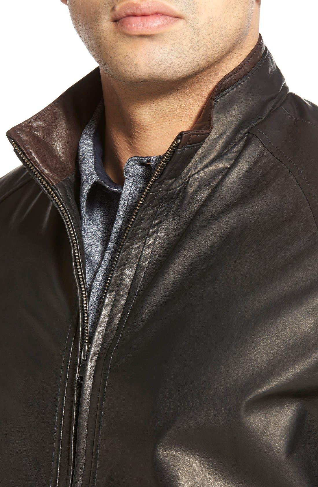 Lambskin Leather Jacket,                             Alternate thumbnail 4, color,                             MIDNITE