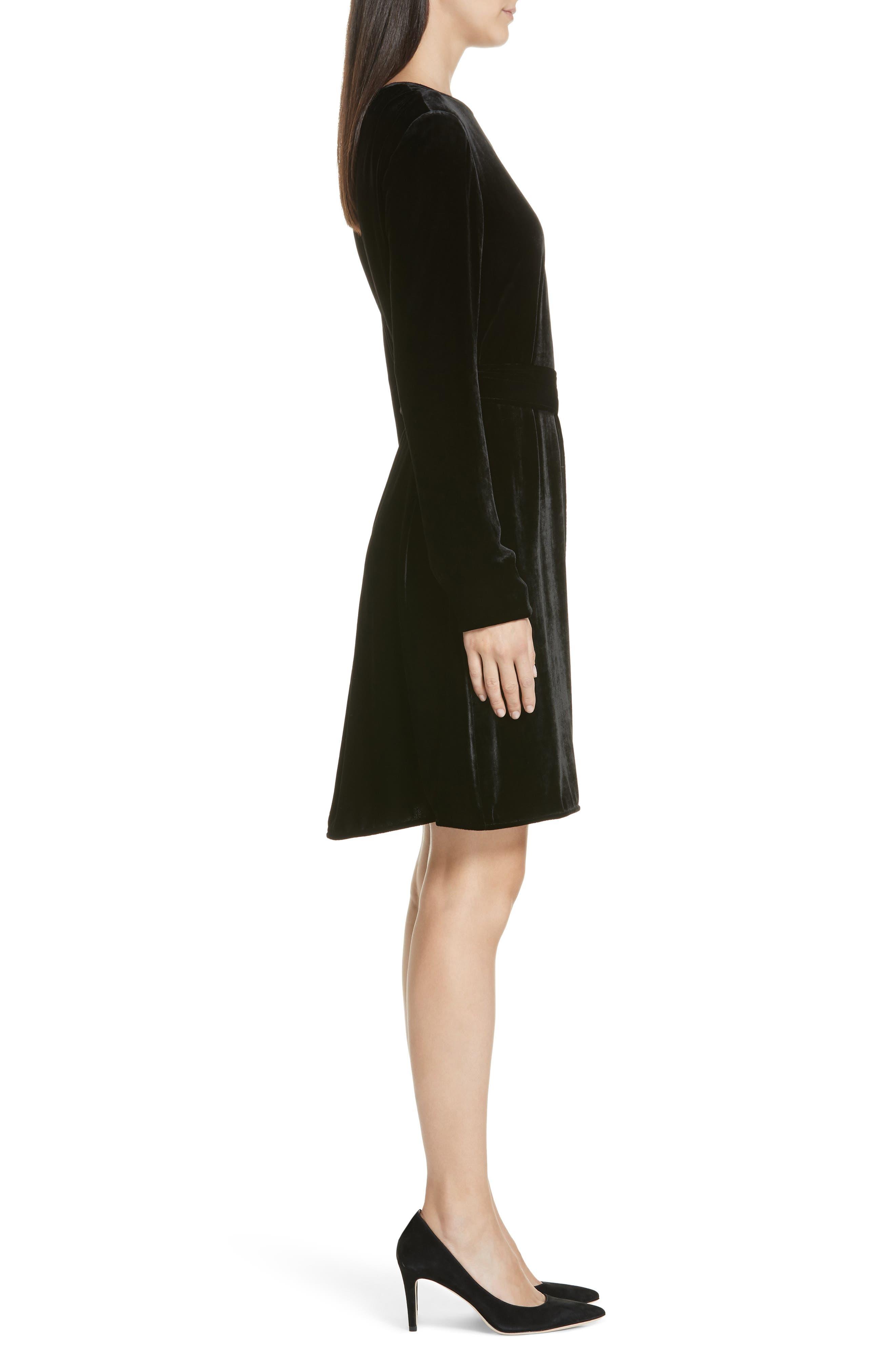 Belted Crinkled Velvet Dress,                             Alternate thumbnail 3, color,                             001