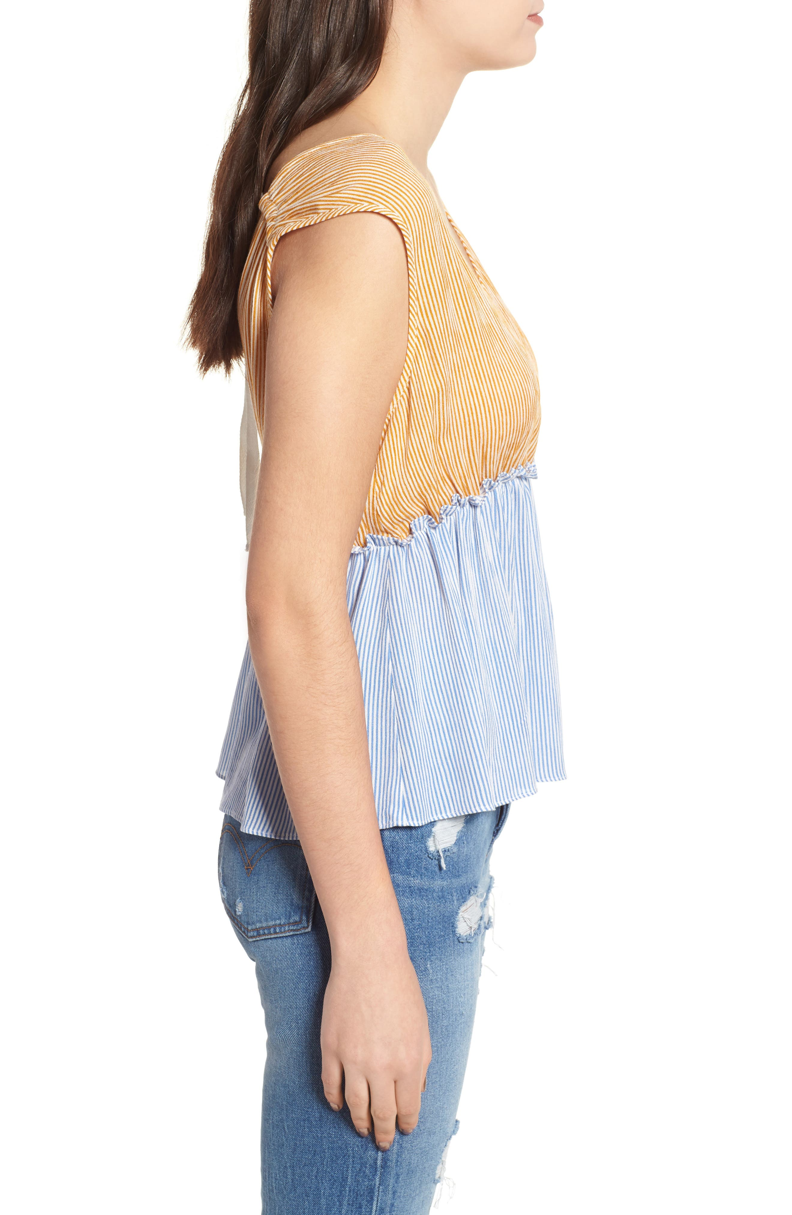 Mixed Stripe Tie Back Top,                             Alternate thumbnail 3, color,