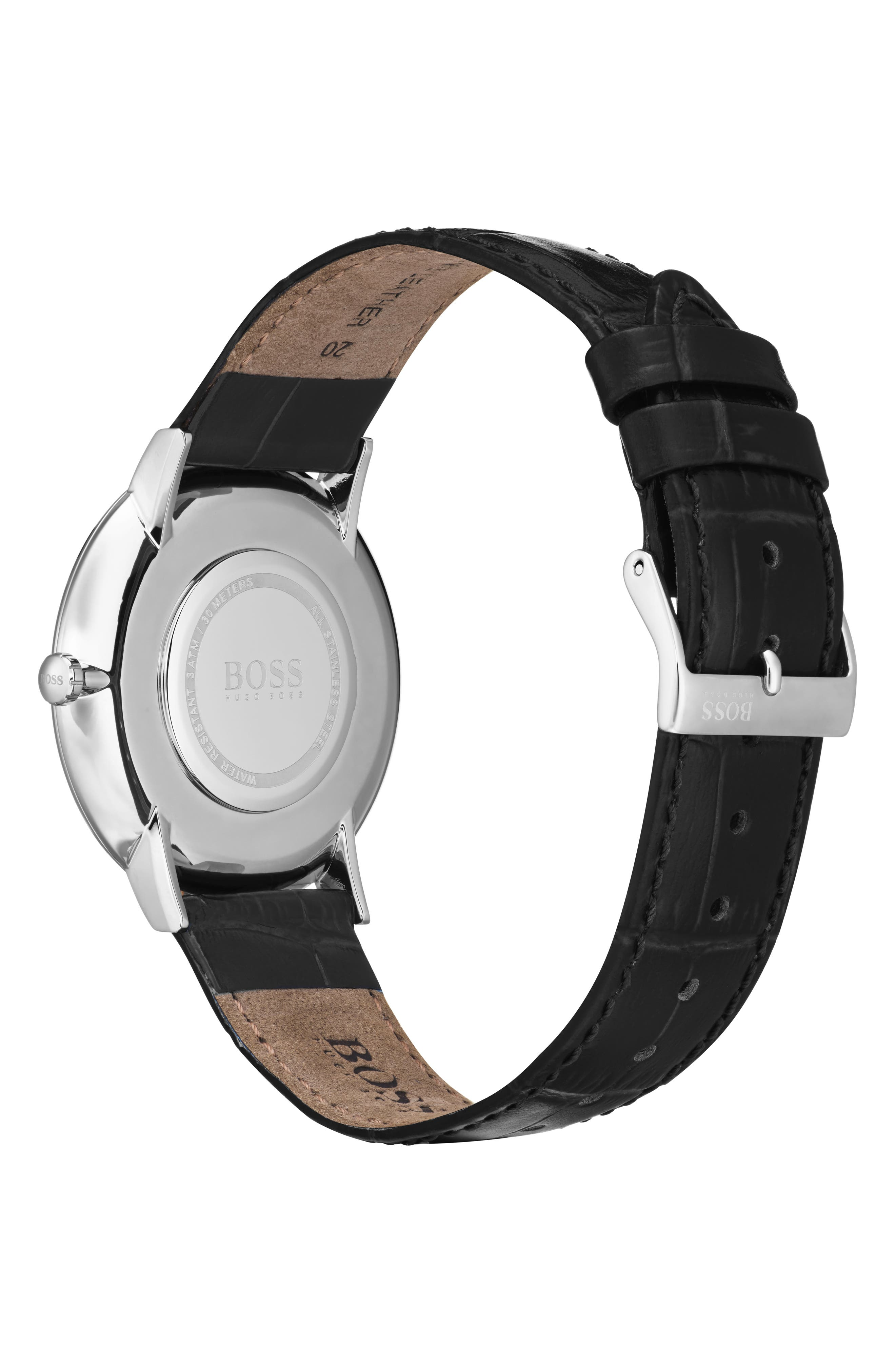 Essential Ultra Slim Leather Strap Watch, 40mm,                             Alternate thumbnail 2, color,                             BLACK