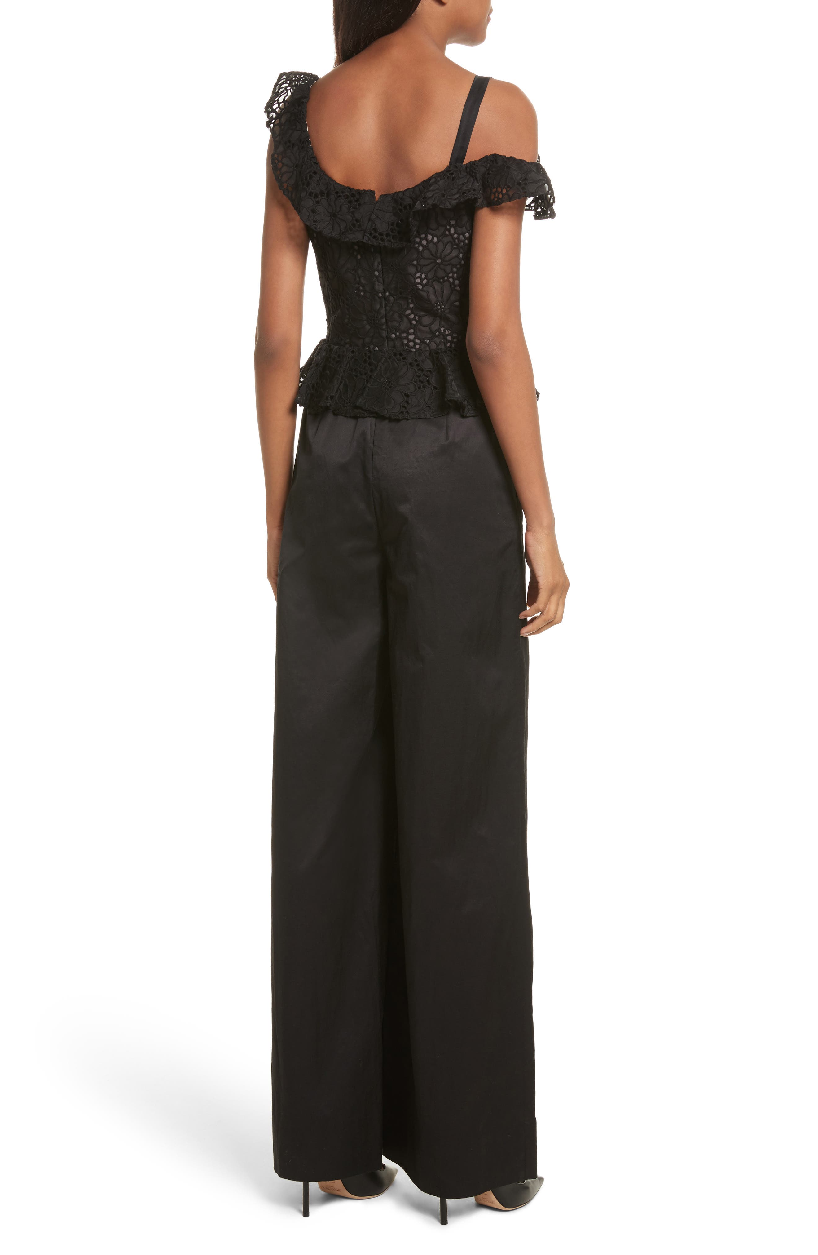 Malorie Off the Shoulder Embroidered Silk Jumpsuit,                             Alternate thumbnail 2, color,                             001
