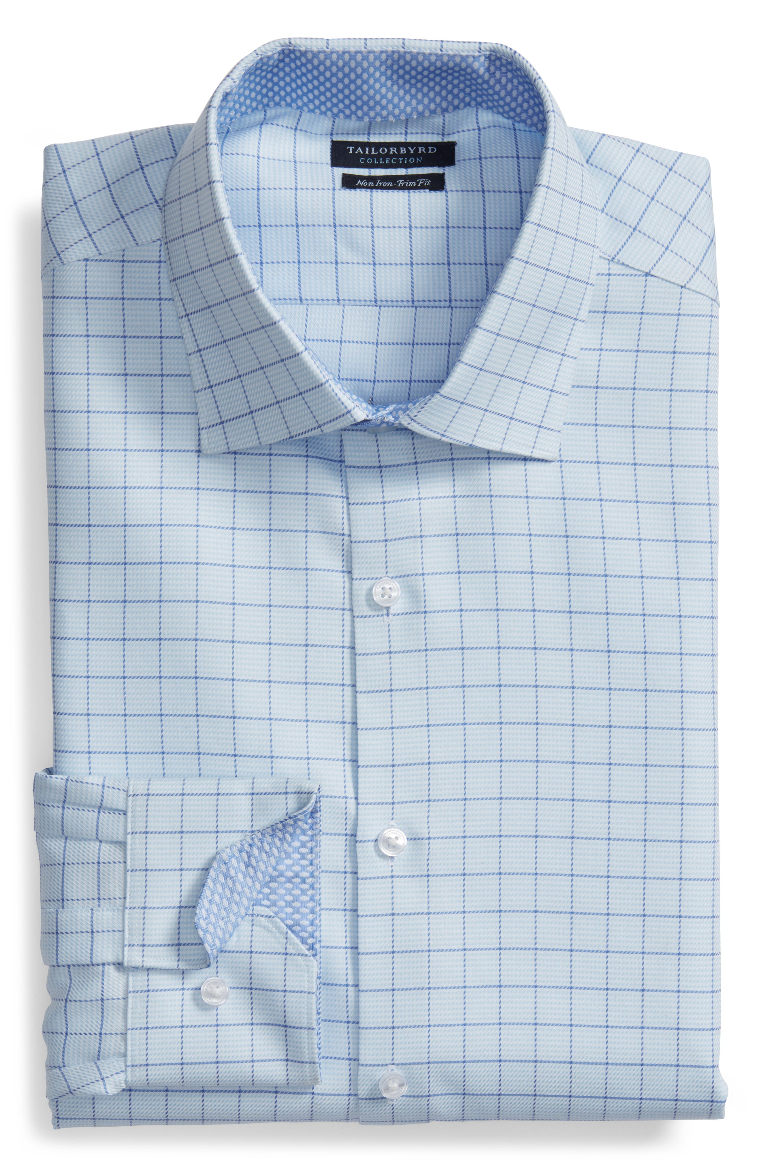 Alec Trim Fit Check Dress Shirt,                             Alternate thumbnail 5, color,                             LIGHT BLUE