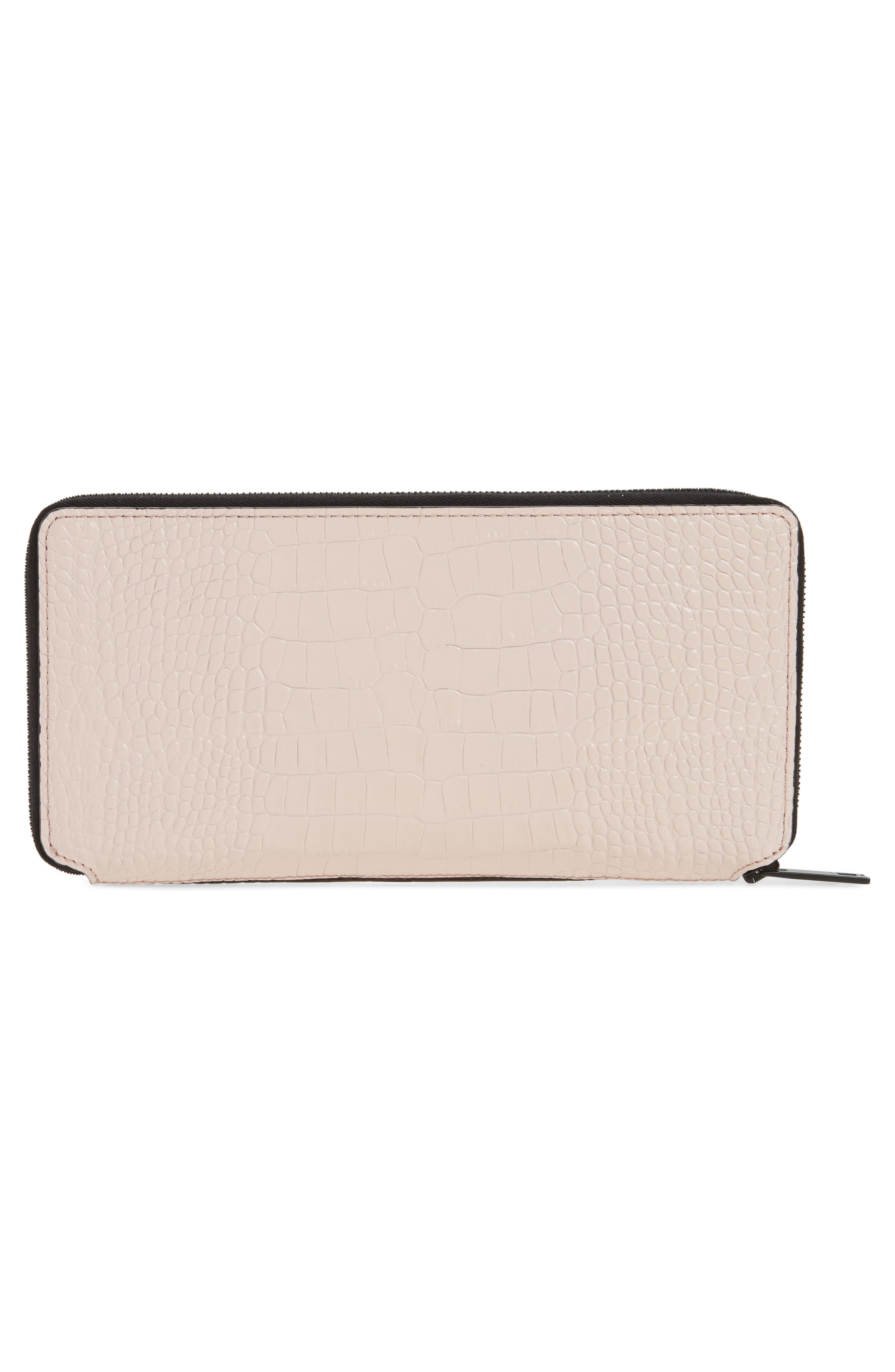 Croc Embossed Zip Around Leather Wallet,                             Alternate thumbnail 6, color,