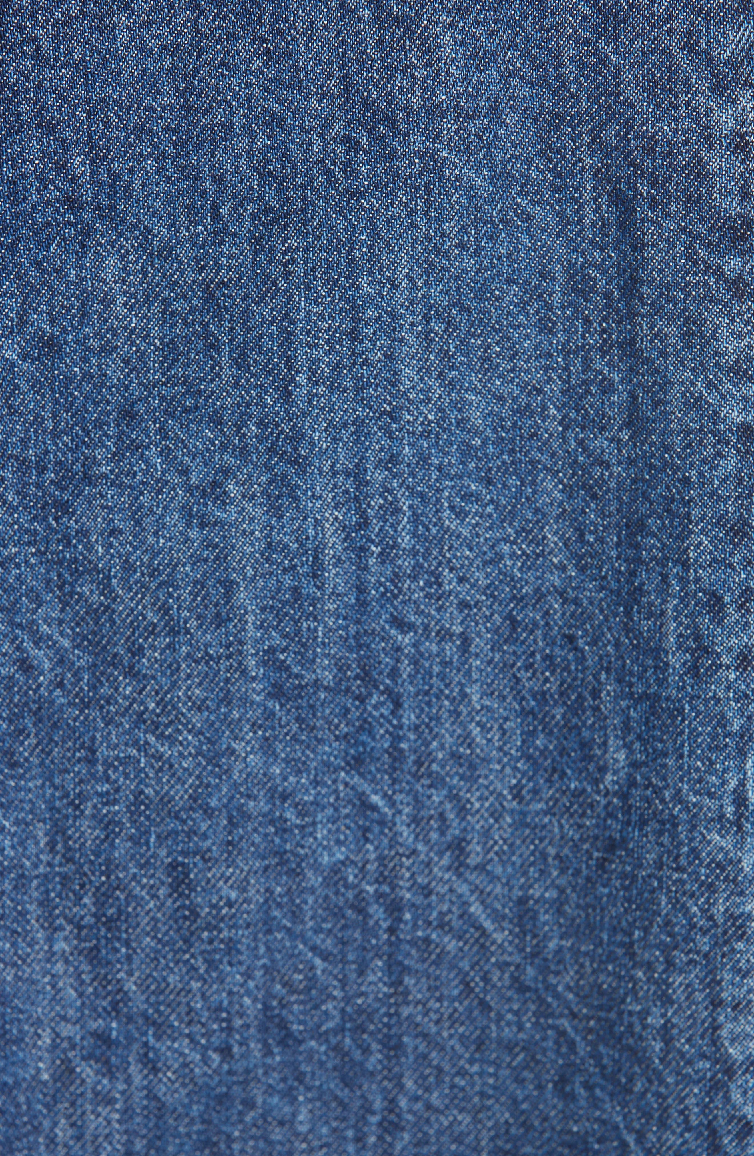 Bleu Bicolor Denim Midi Skirt,                             Alternate thumbnail 5, color,                             INDIGO/ BLACK