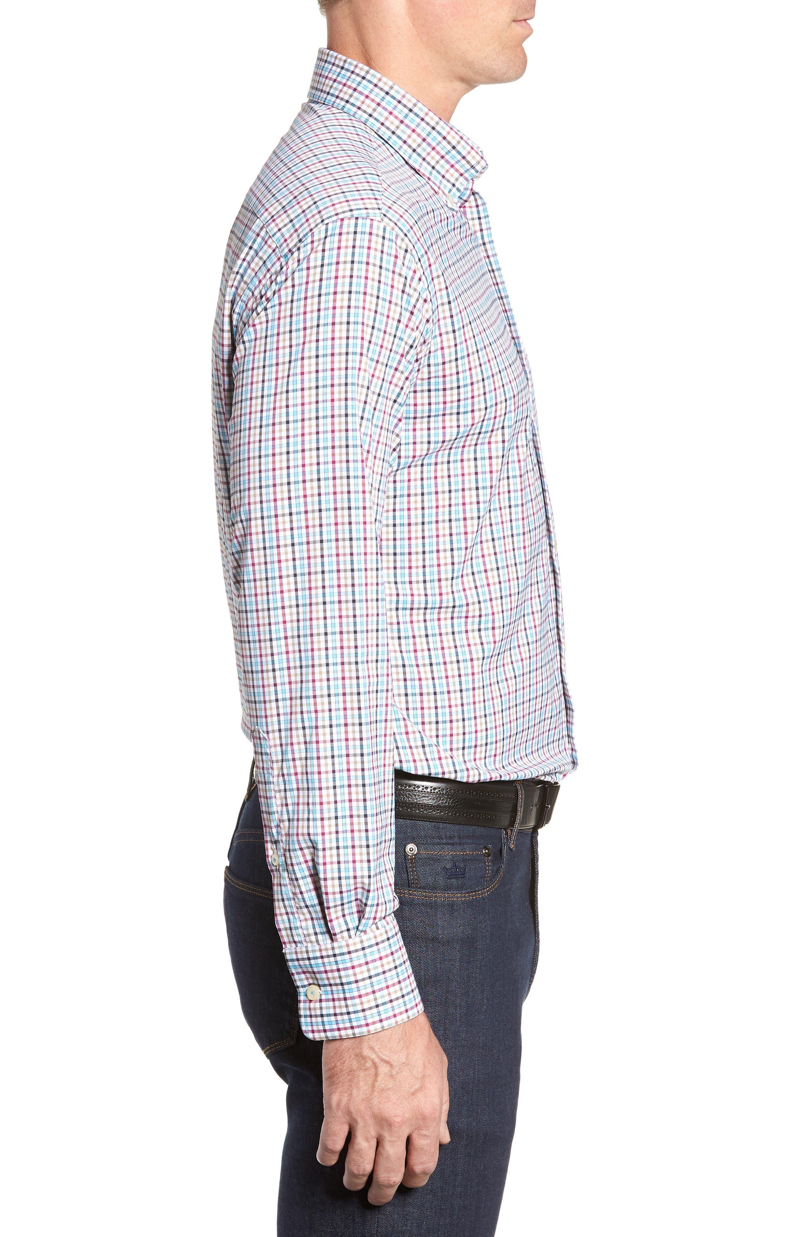 Lawson Regular Fit Tattersall Check Performance Sport Shirt,                             Alternate thumbnail 4, color,                             BLACK