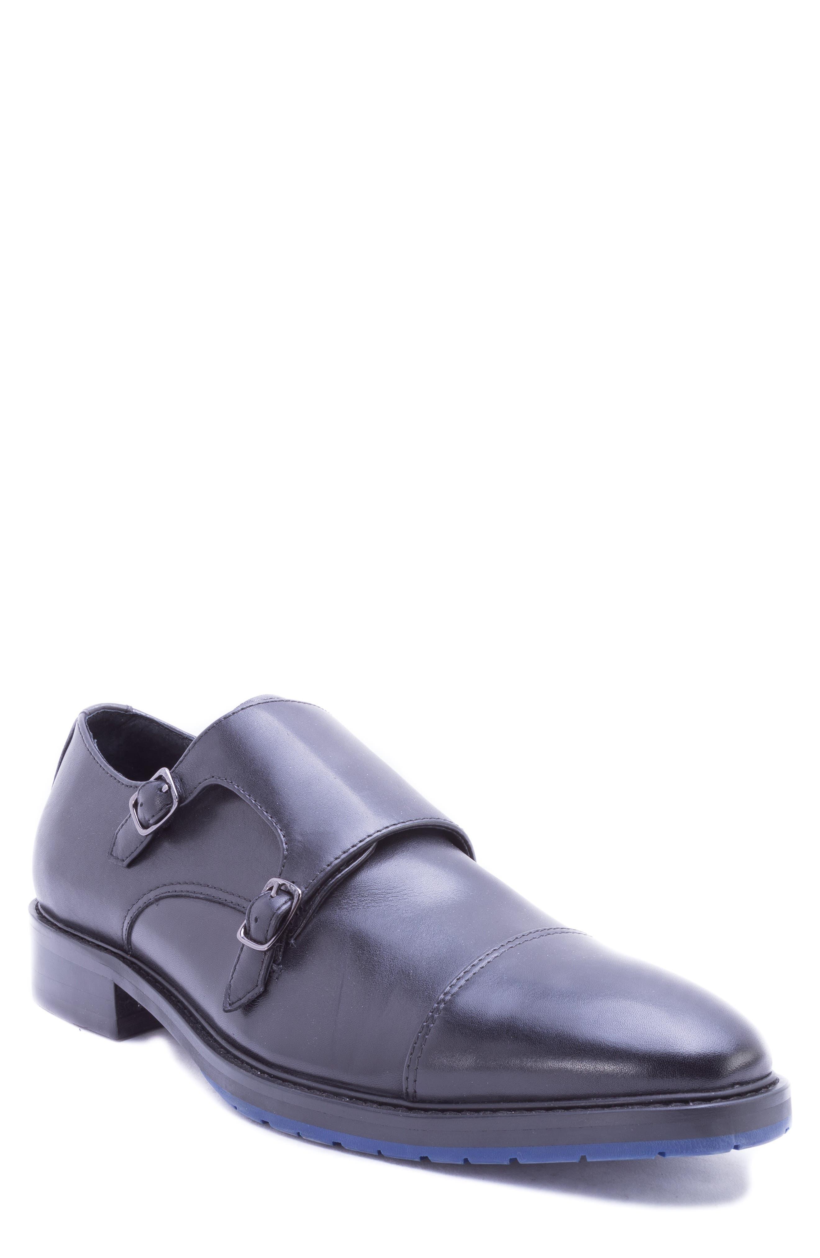 Catlett Double Monk Strap Shoe,                             Main thumbnail 1, color,                             BLACK LEATHER