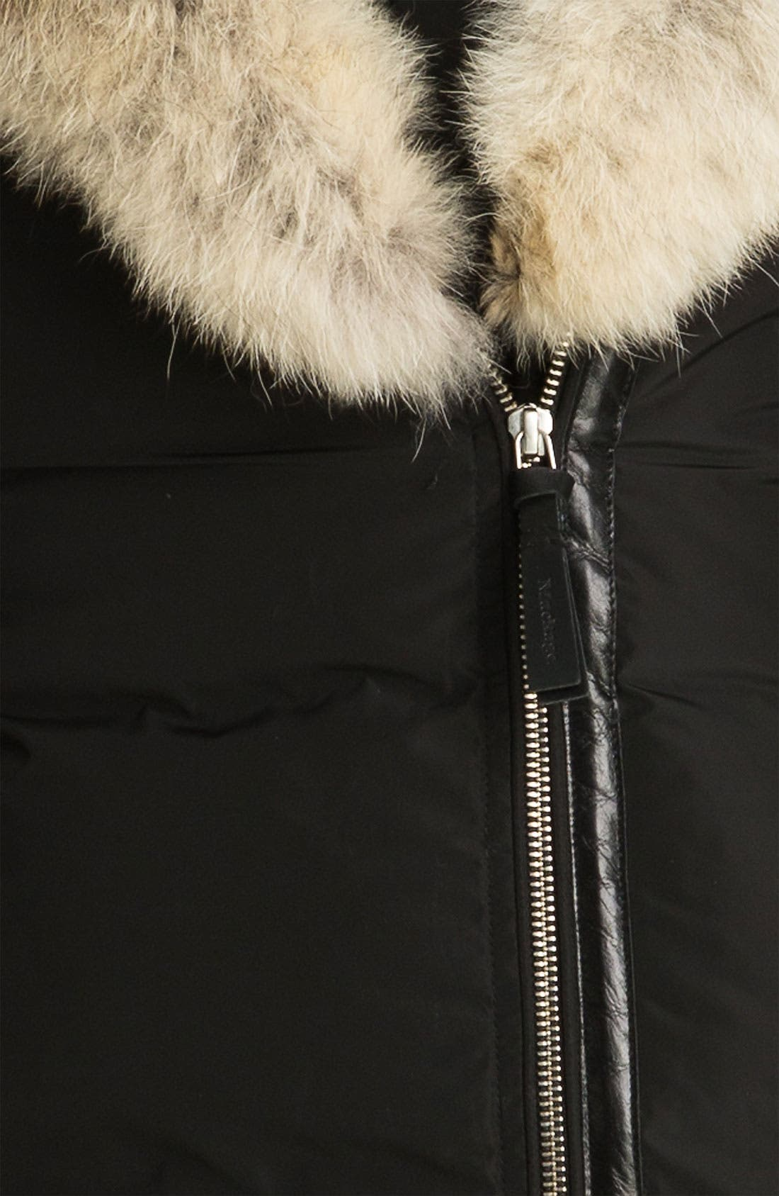 MACKAGE,                             Long Down Coat with Genuine Coyote & Rabbit Fur,                             Alternate thumbnail 4, color,                             001