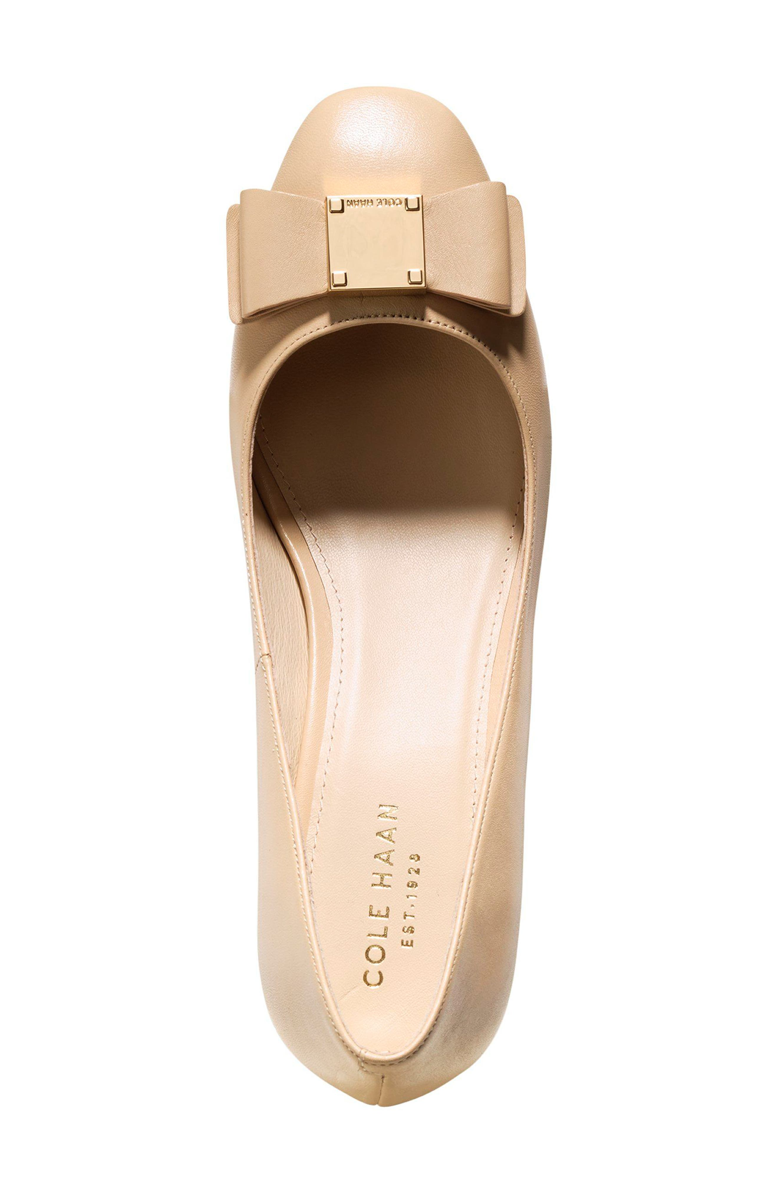 Tali Bow Pump,                             Alternate thumbnail 4, color,                             NUDE LEATHER