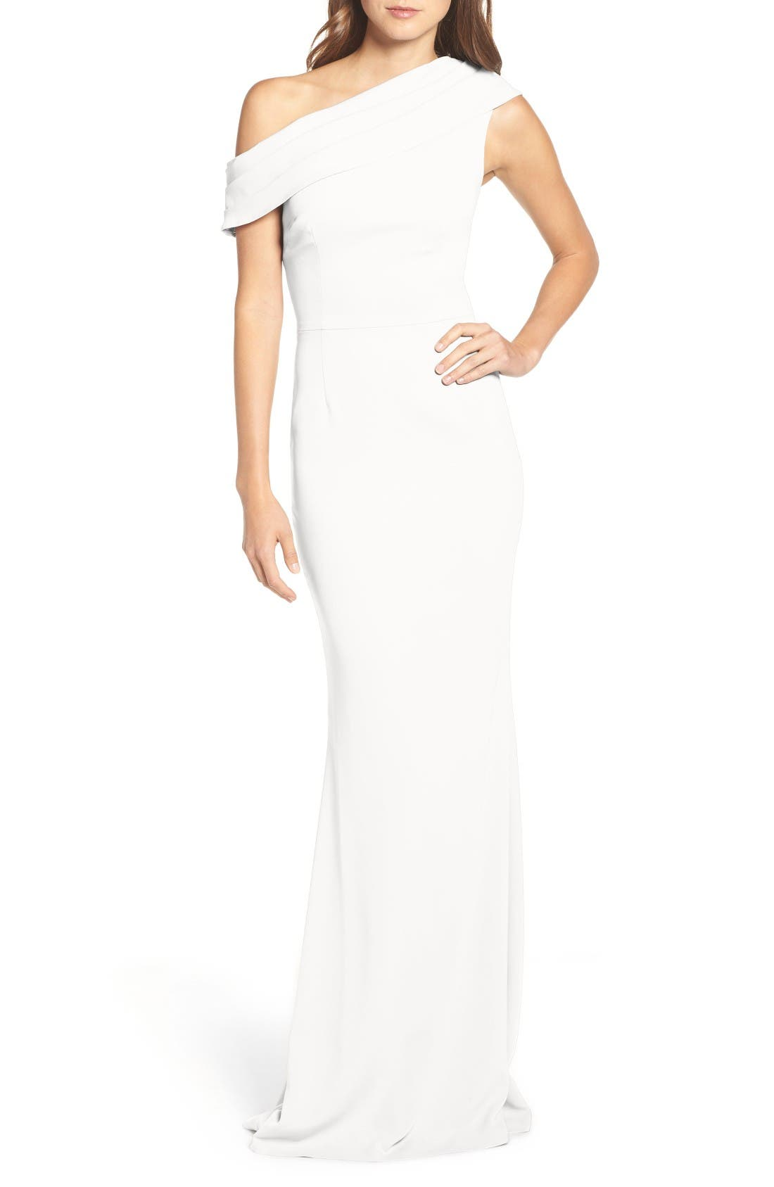 Layla Pleat One-Shoulder Crepe Gown,                         Main,                         color, IVORY