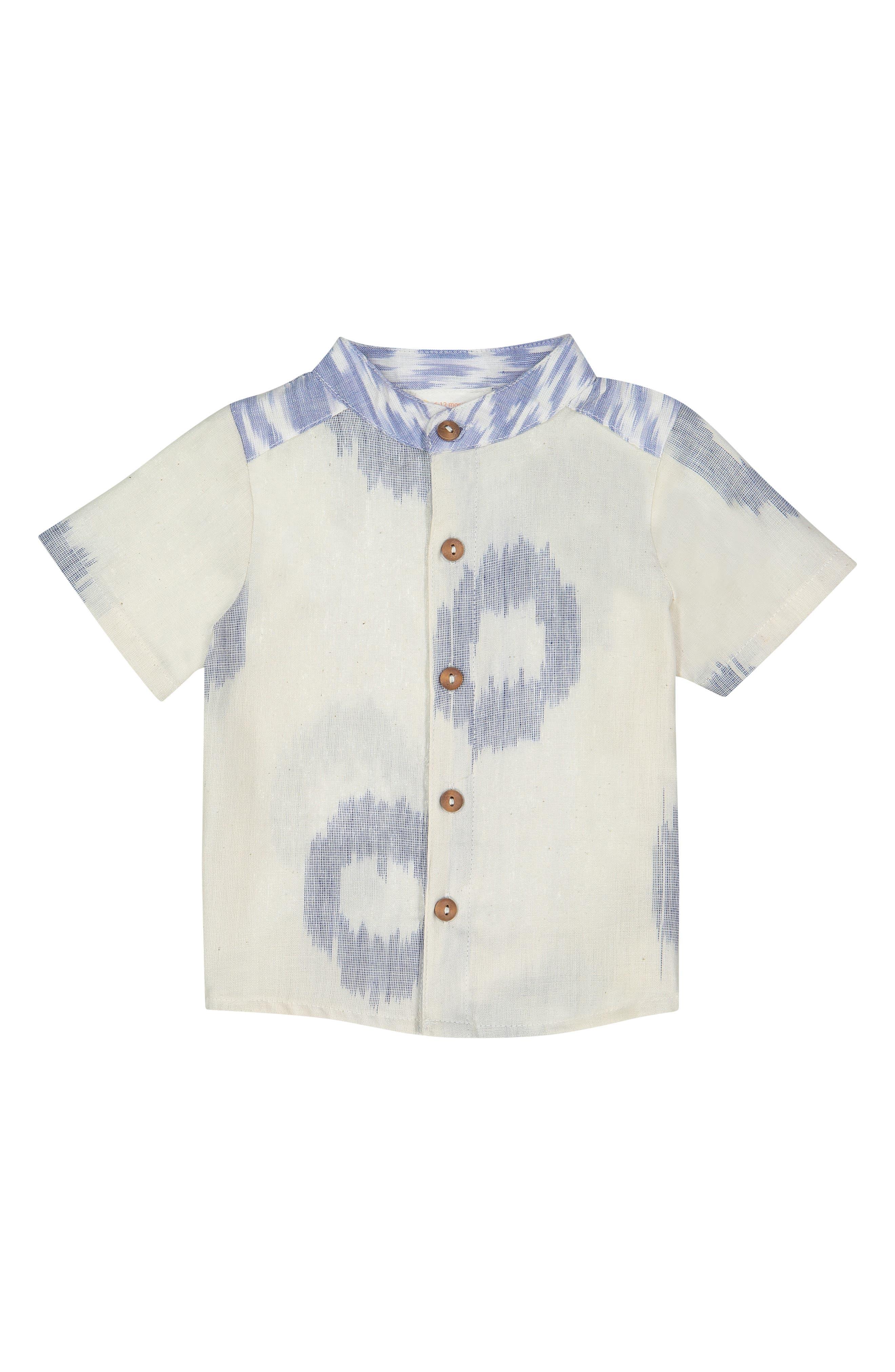 Wilder Ikat Dots Shirt, Main, color, BLUE