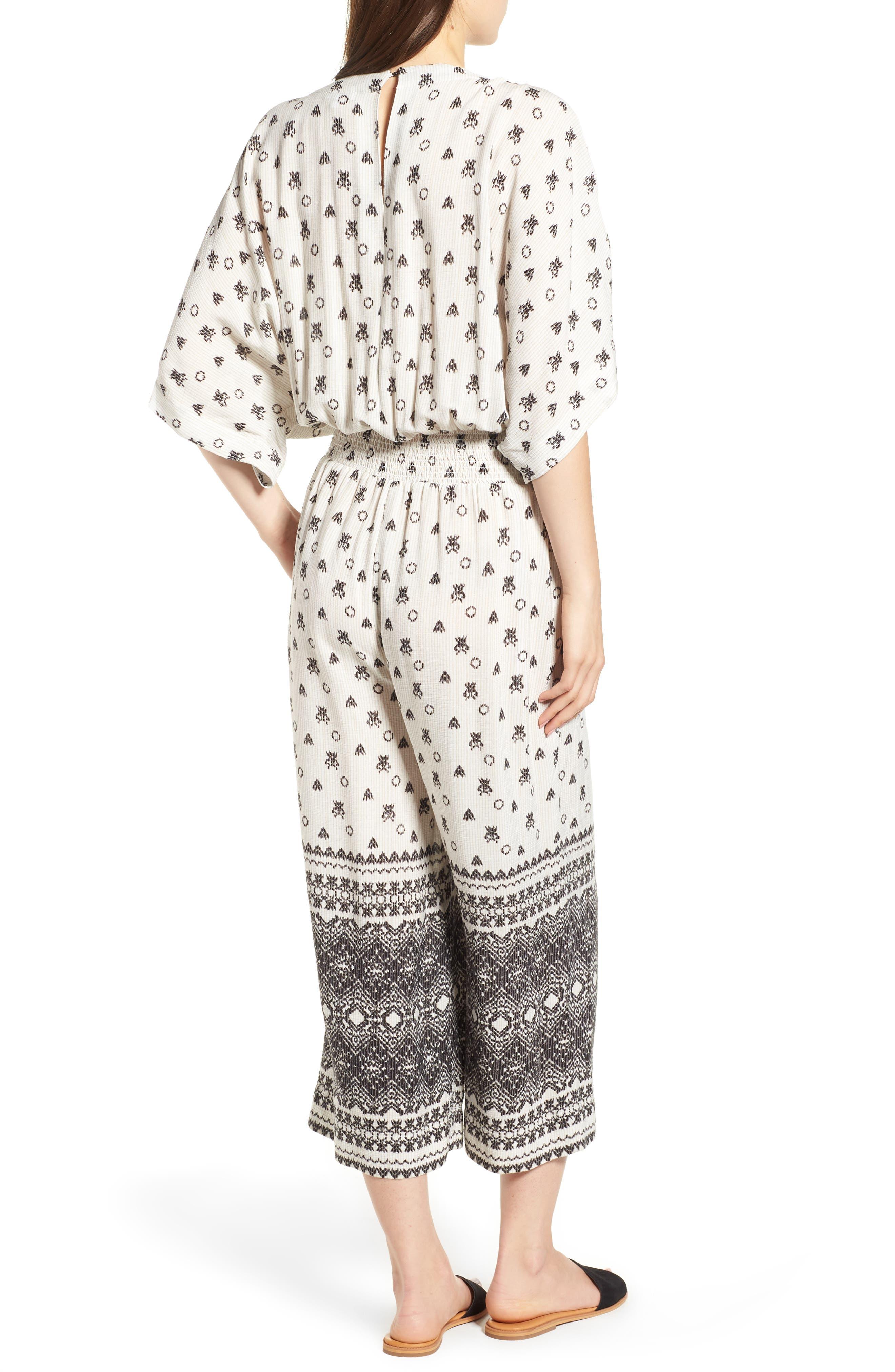 Desert Batik Print Tie Waist Jumpsuit,                             Alternate thumbnail 2, color,                             NATURAL