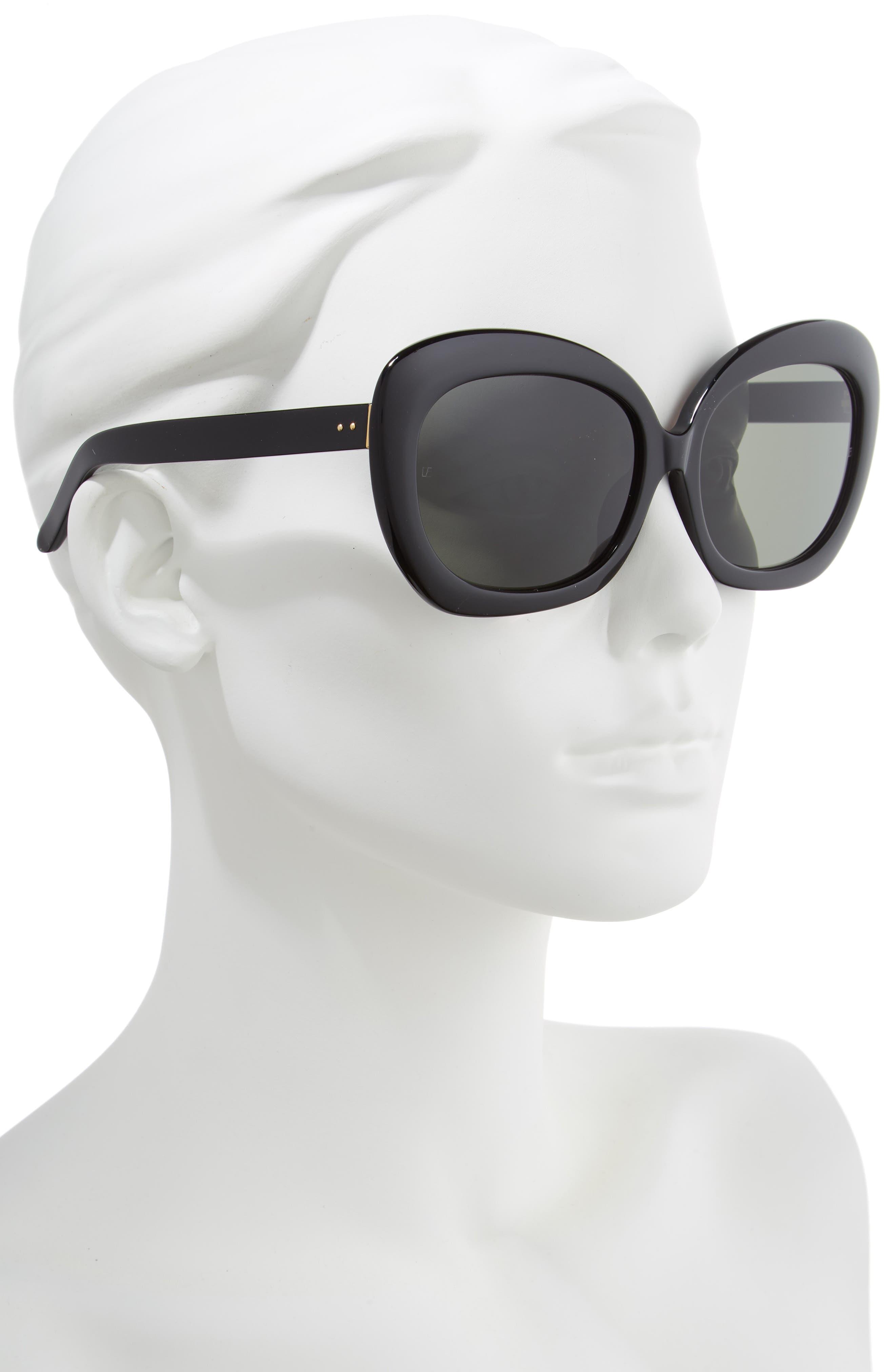 LINDA FARROW,                             62mm Oversize Round Sunglasses,                             Alternate thumbnail 2, color,                             BLACK