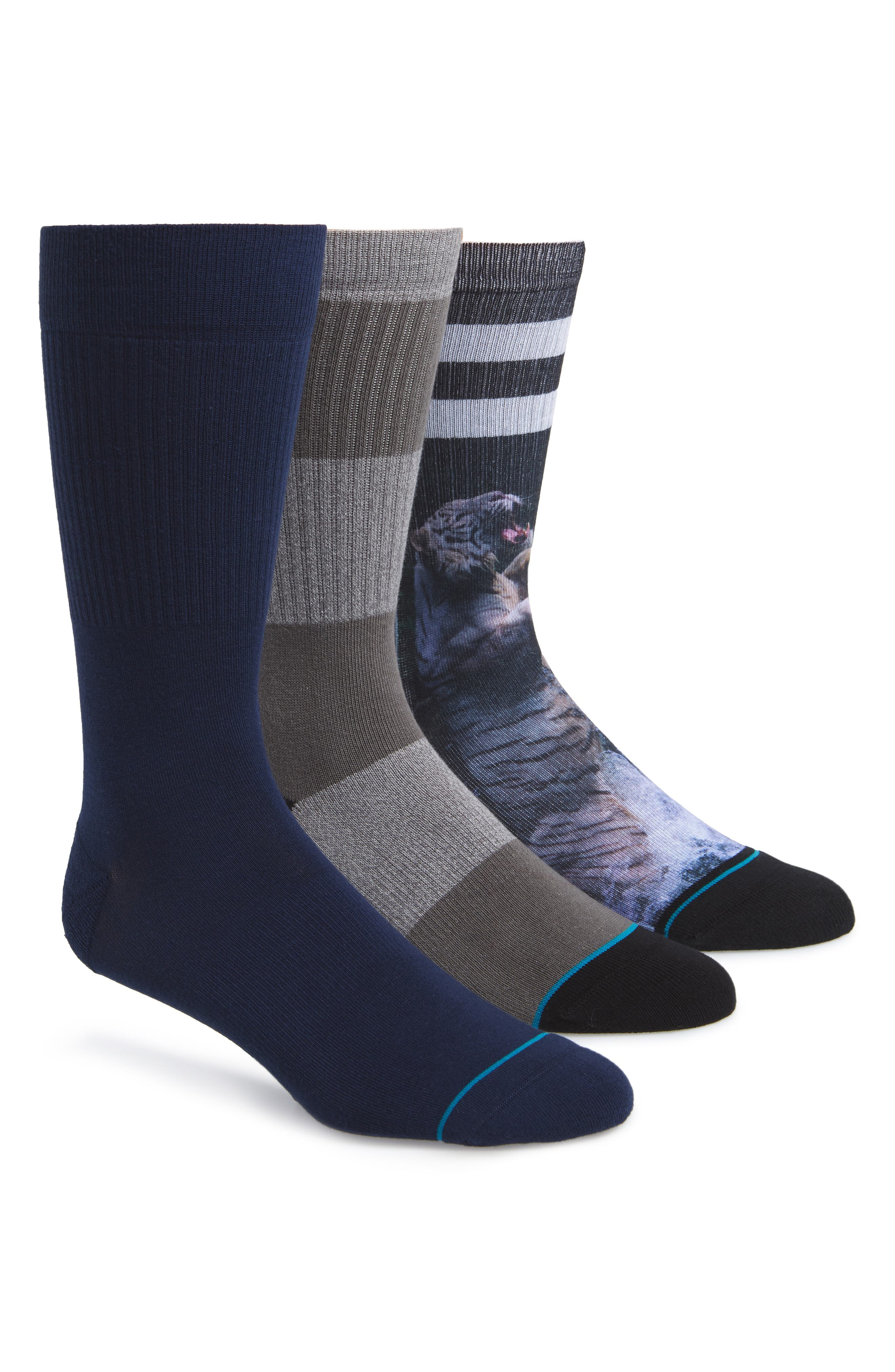Khan 3-Pack Crew Socks,                             Main thumbnail 1, color,                             BLACK/ GREY/ NAVY