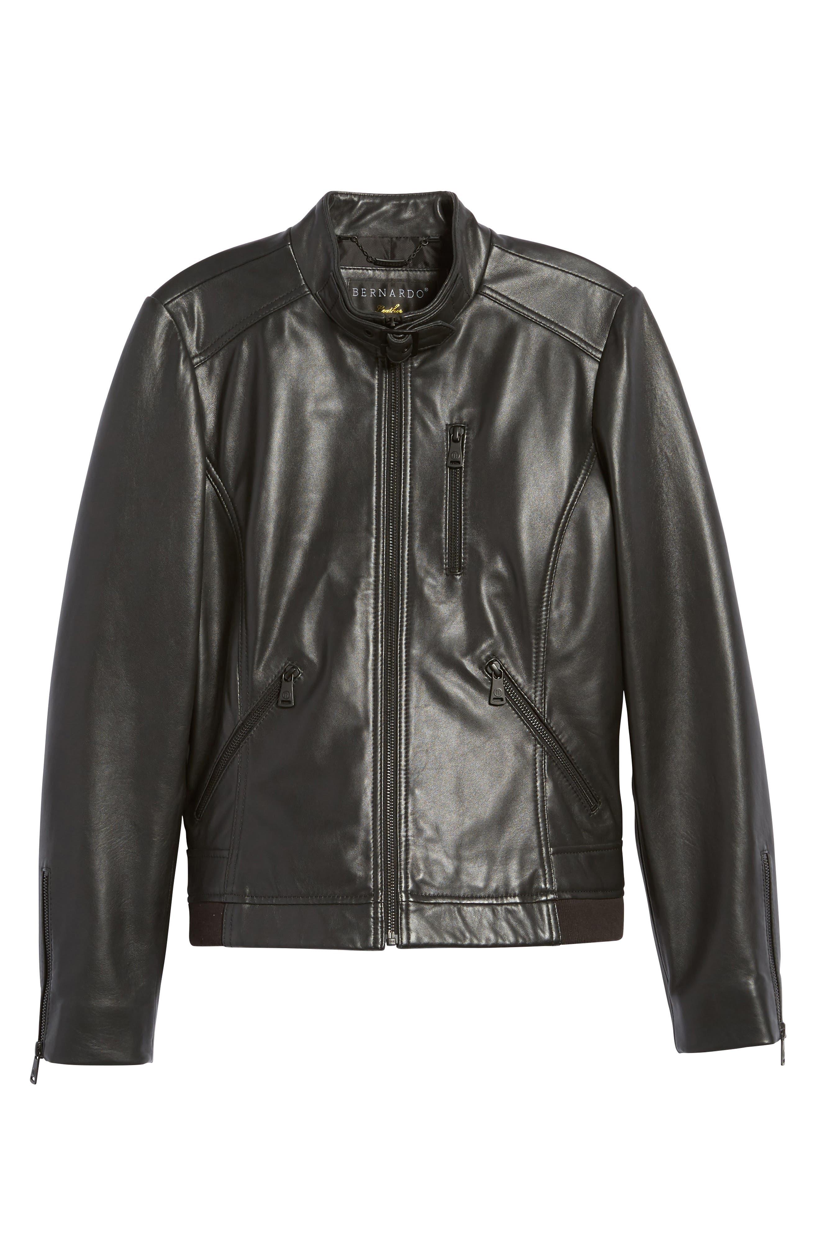 Jetta Knit Detail Leather Scuba Jacket,                             Alternate thumbnail 5, color,                             001