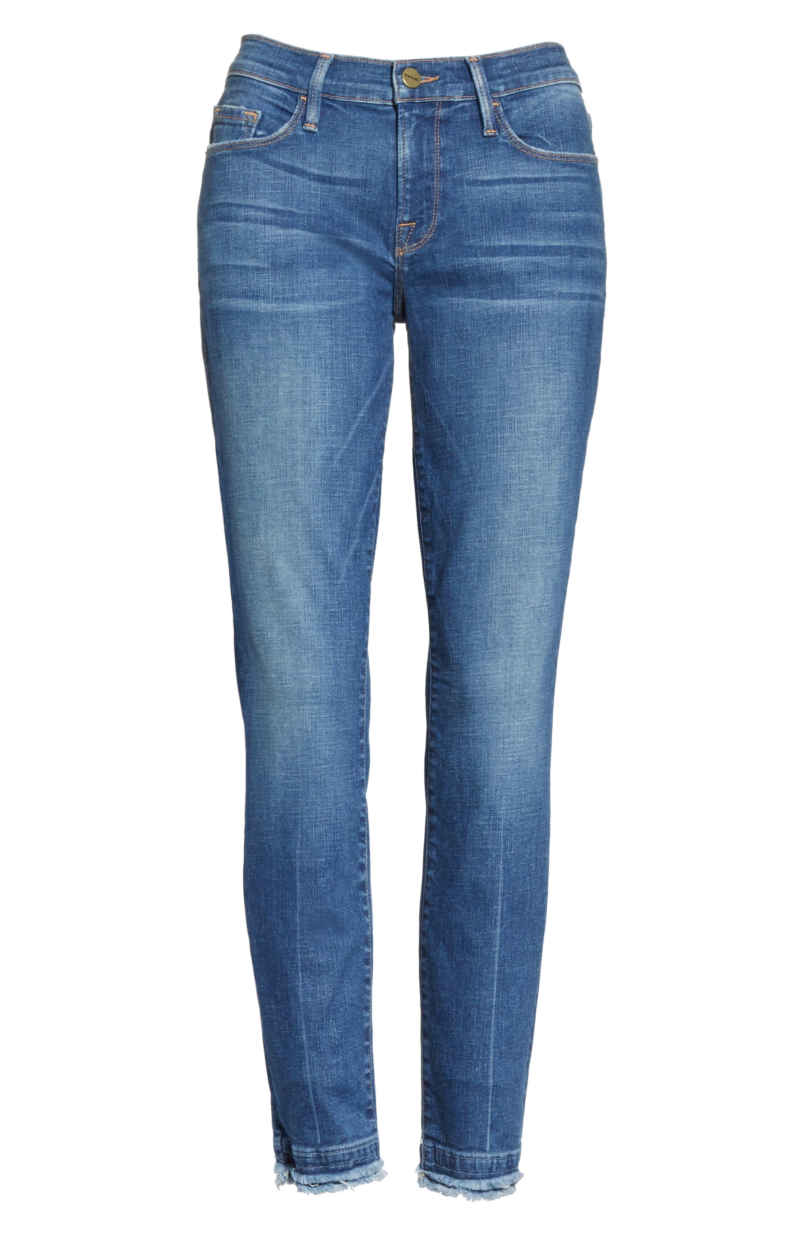 Le Skinny de Jeanne Double Hem Crop Jeans,                             Alternate thumbnail 6, color,                             420
