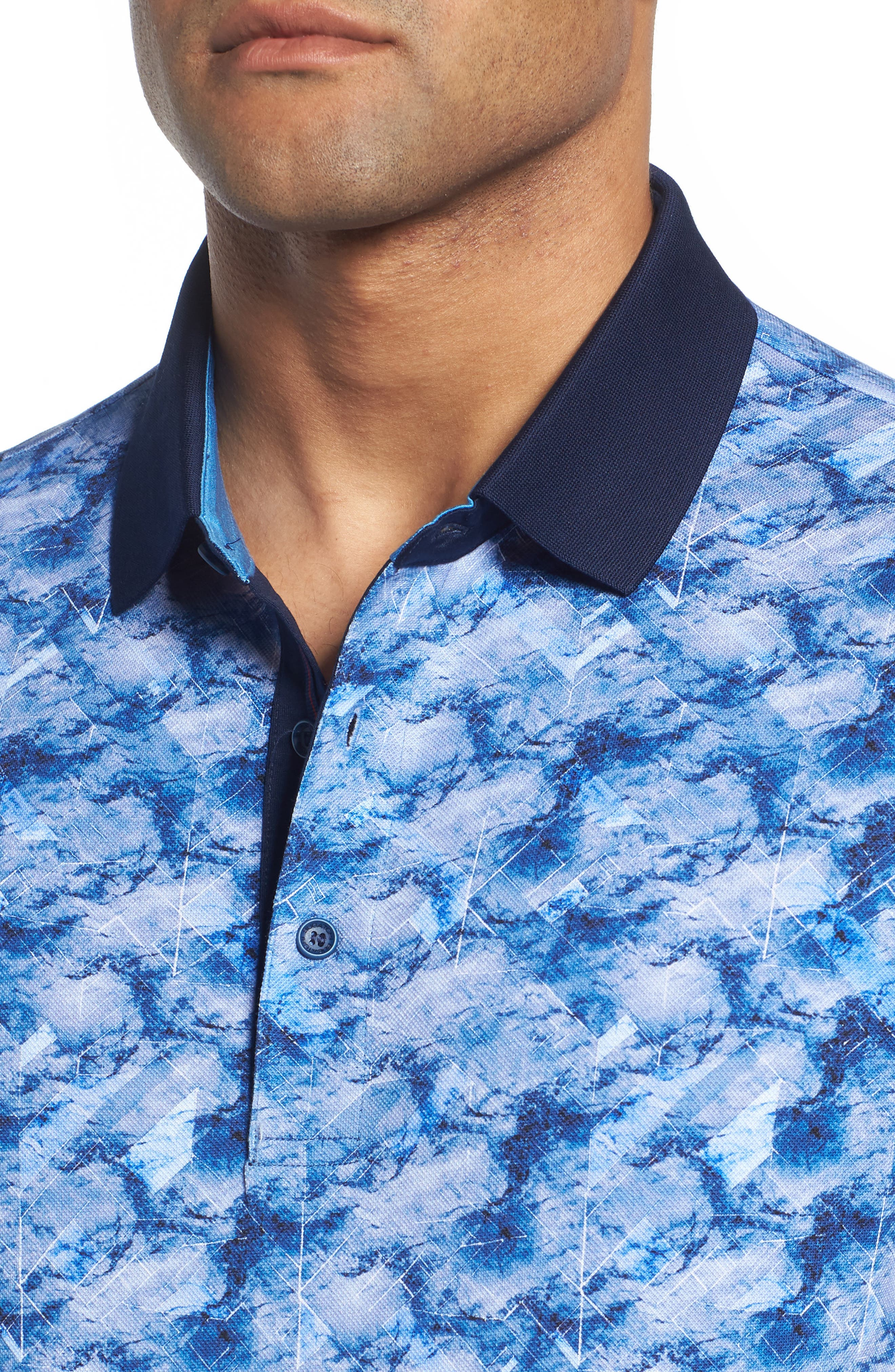 Abstract Print Piqué Polo,                             Alternate thumbnail 4, color,                             CLASSIC BLUE