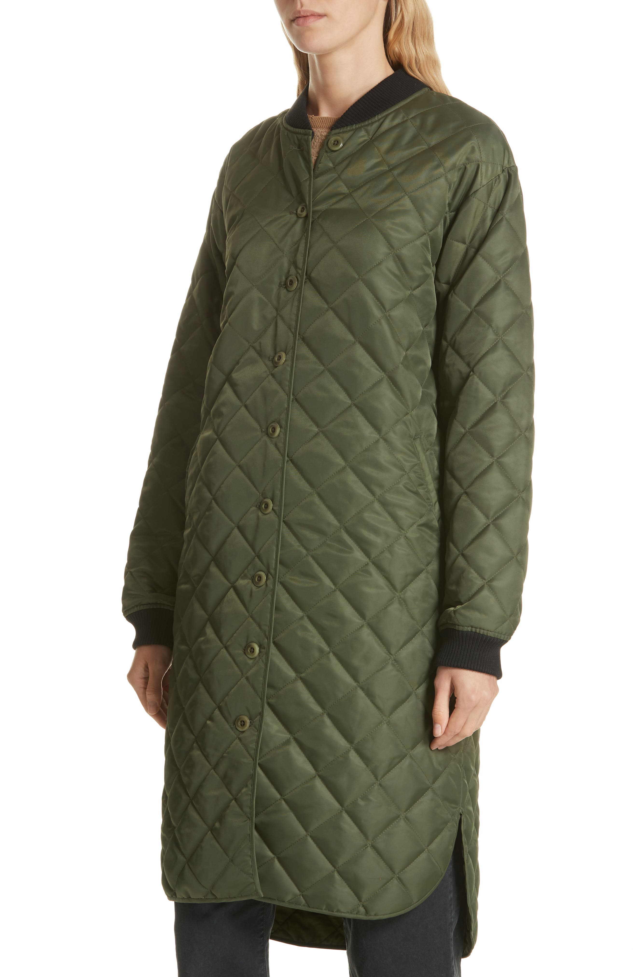 Quilted Long Coat,                             Alternate thumbnail 4, color,                             ARMY