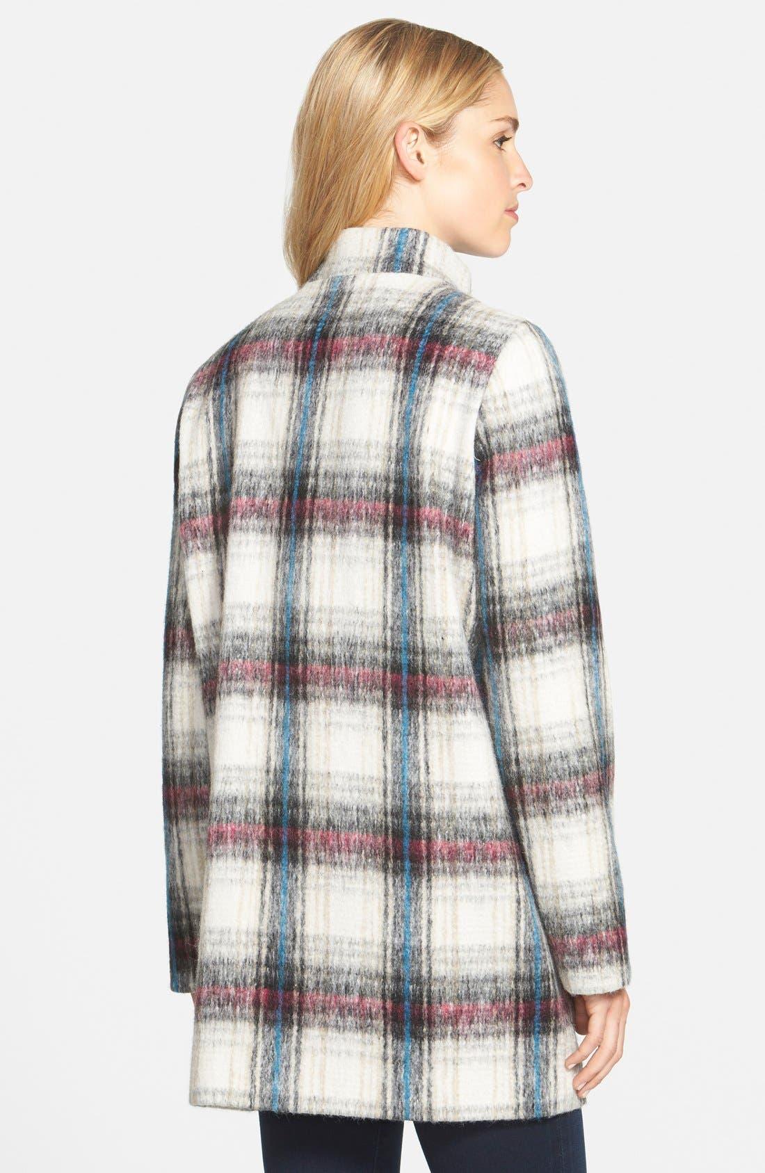 Drop Shoulder Plaid Wool Blend Coat,                             Alternate thumbnail 9, color,                             250