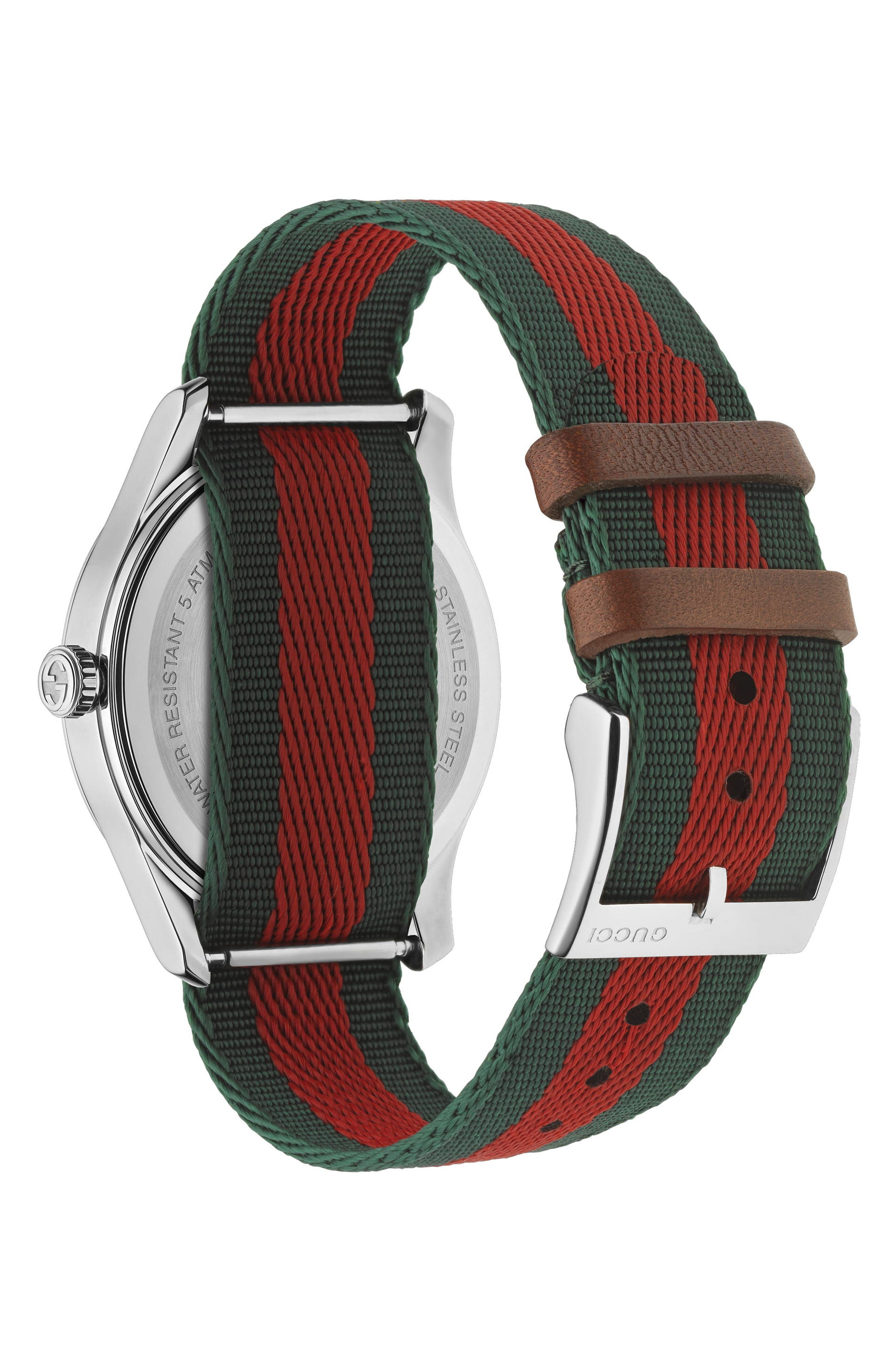 G-Timeless Nylon Strap Watch, 38mm,                             Alternate thumbnail 2, color,                             GREEN/ RED/ SILVER