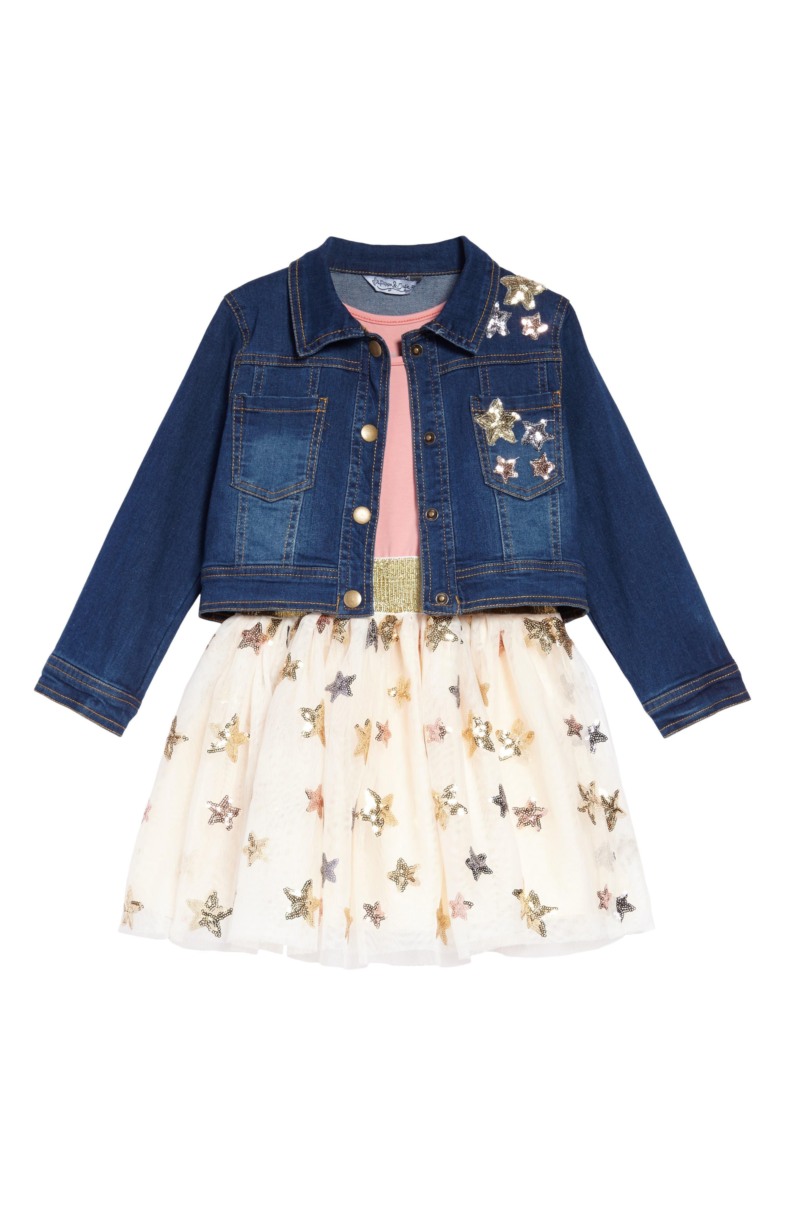 Sequin Star Tank Dress & Denim Jacket Set,                         Main,                         color, 653
