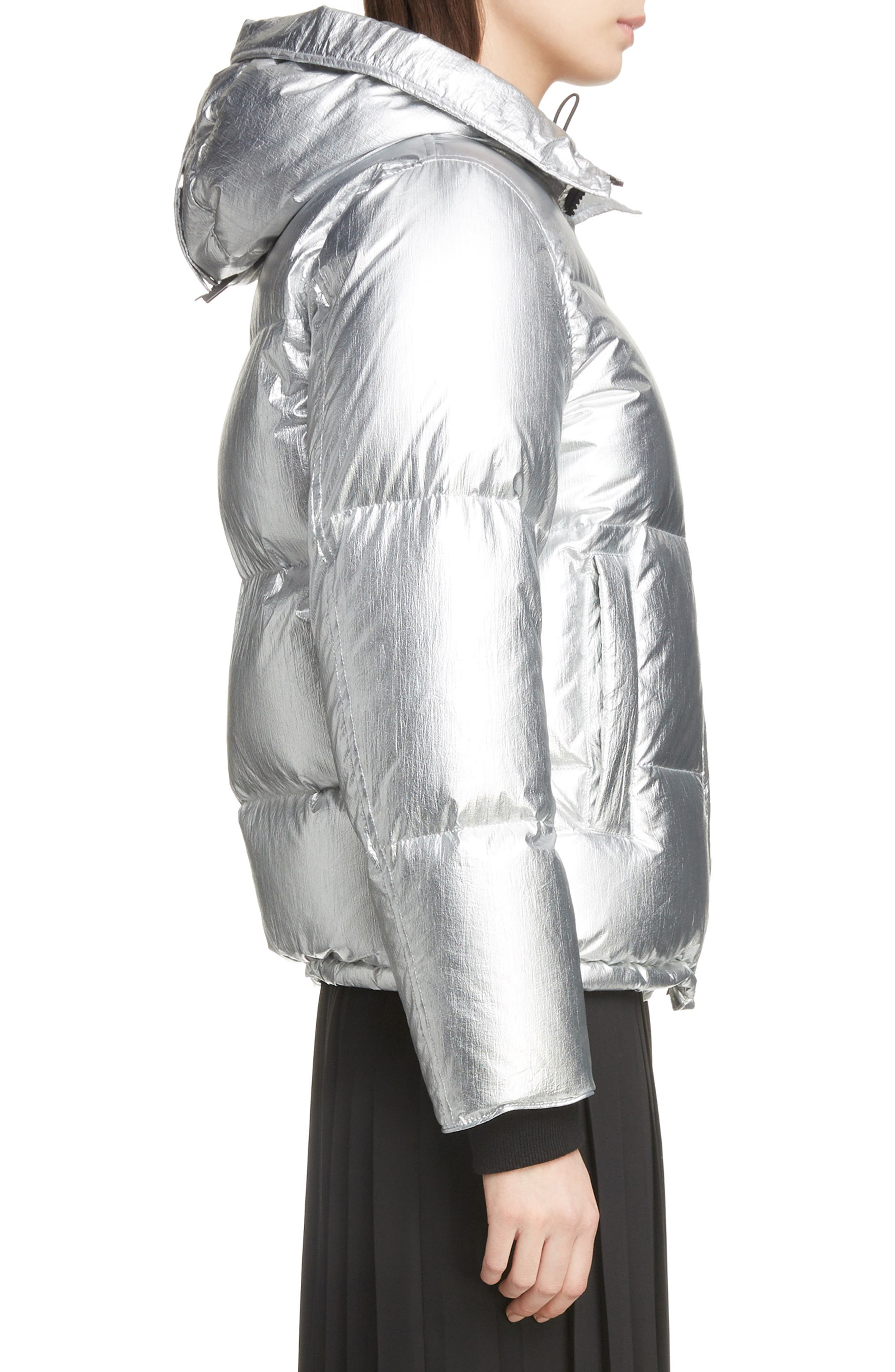Metallic Down Puffer Coat,                             Alternate thumbnail 3, color,                             040