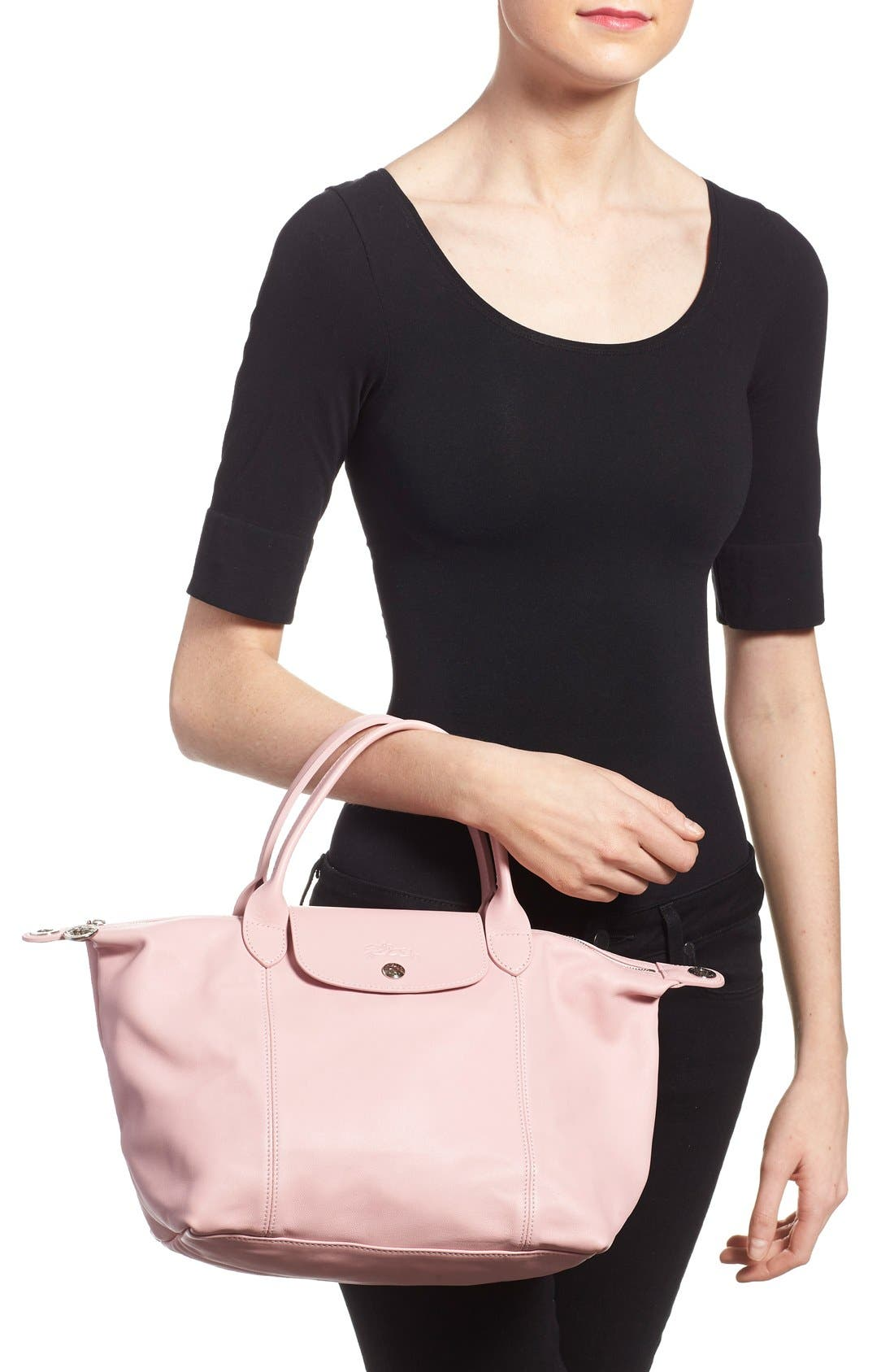 Small 'Le Pliage Cuir' Leather Top Handle Tote,                             Alternate thumbnail 40, color,
