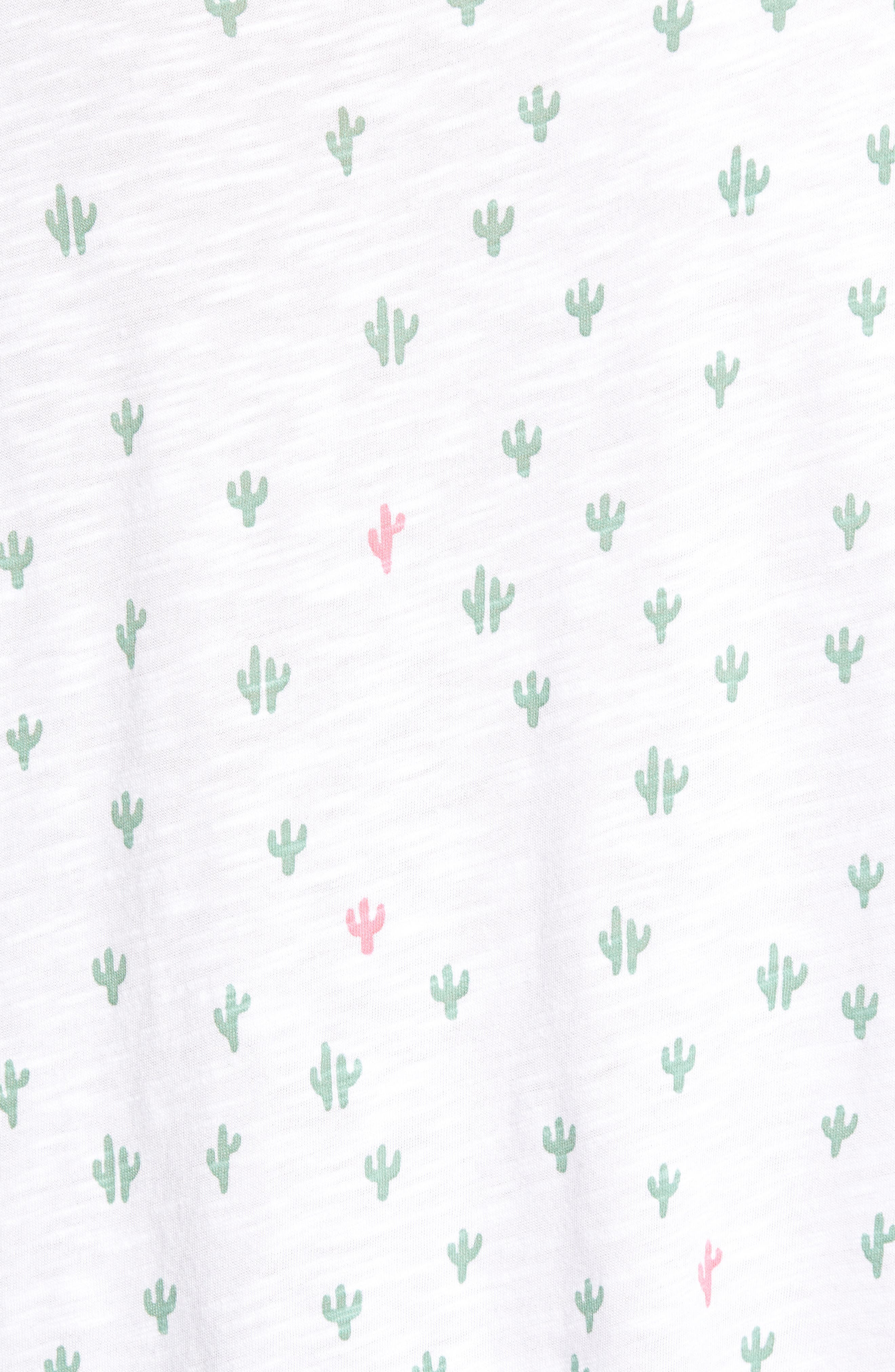 CASLON<SUP>®</SUP>,                             Rounded V-Neck Tee,                             Alternate thumbnail 6, color,                             WHITE CACTUS PRINT