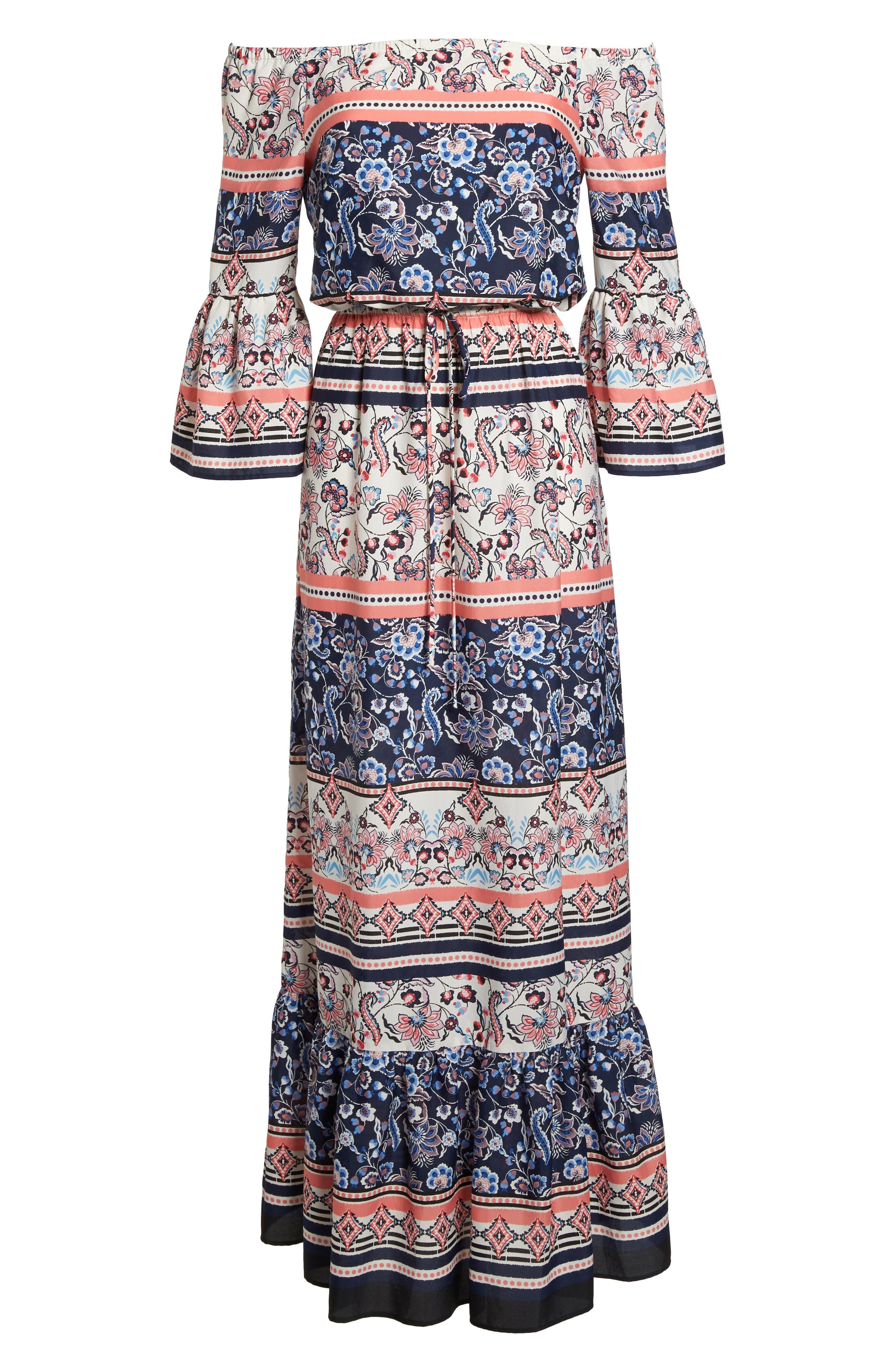 Off the Shoulder Tie Waist Maxi Dress,                             Alternate thumbnail 7, color,                             470