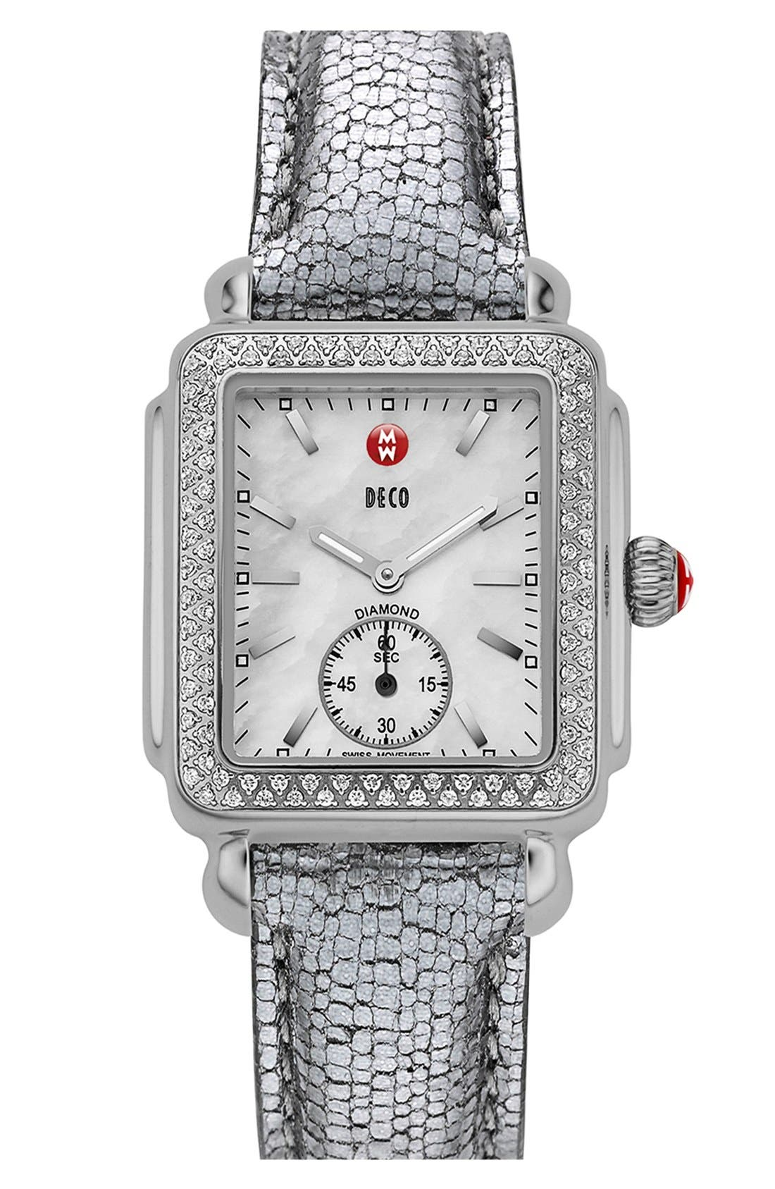 Deco 16 Diamond Watch Head, 29mm x 31mm,                             Alternate thumbnail 5, color,                             SILVER