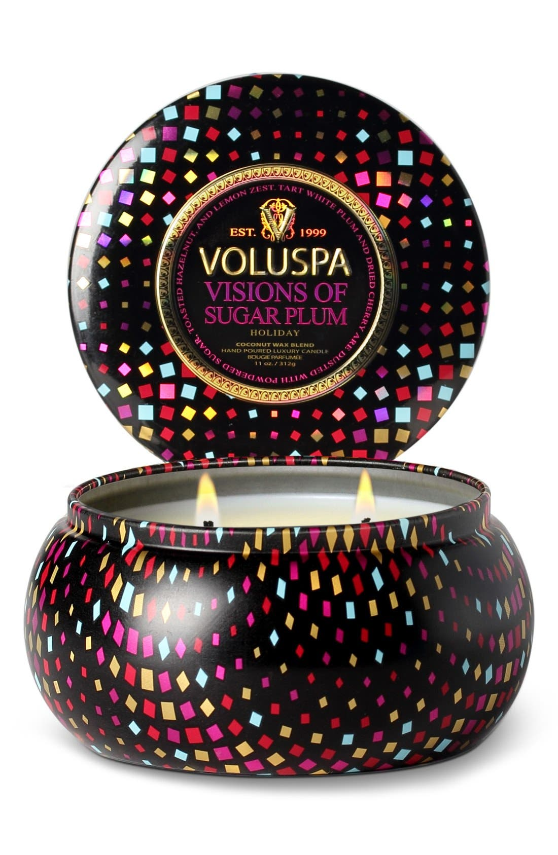 'Maison Holiday - Visions of Sugar Plum' Two-Wick Candle, Main, color, 000