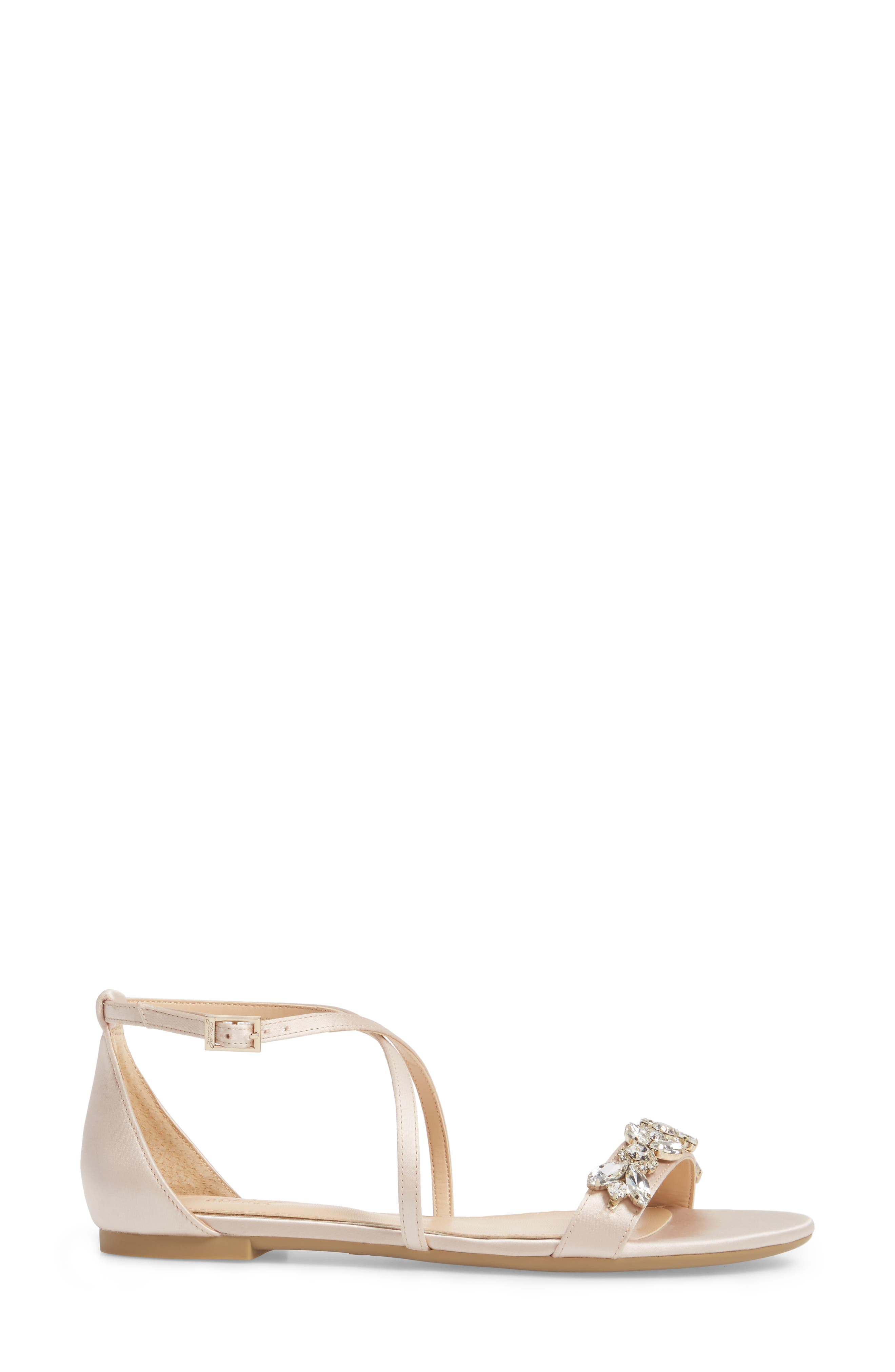 Tessy Embellished Sandal,                             Alternate thumbnail 3, color,                             CHAMPAGNE SATIN