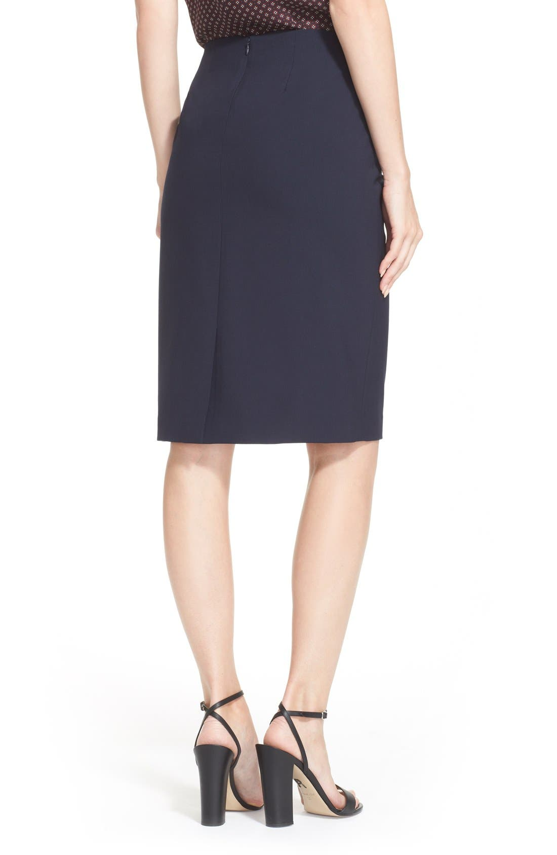 THEORY,                             Stretch Wool Pencil Skirt,                             Alternate thumbnail 3, color,                             491