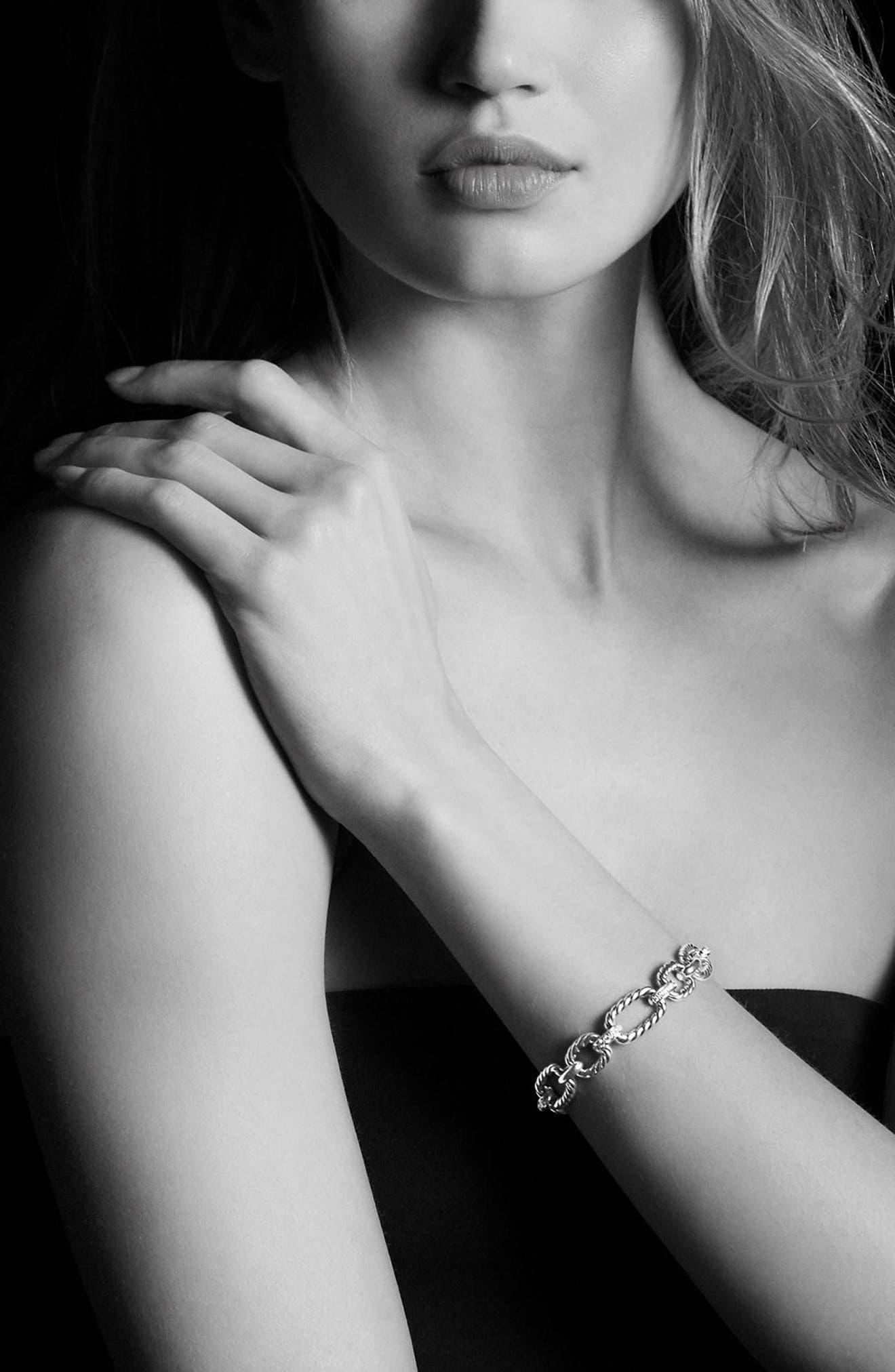 'Chain' Cushion Link Bracelet with Diamonds,                             Alternate thumbnail 2, color,                             SILVER