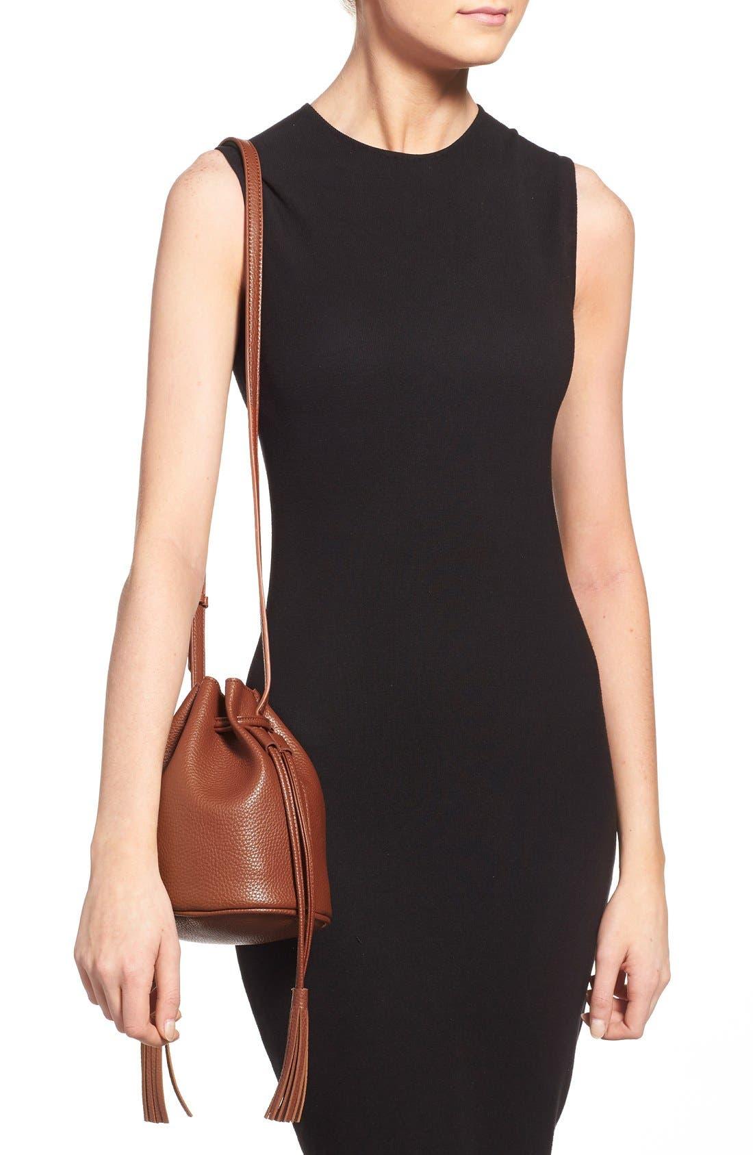 Mini Faux Leather Tassel Bucket Bag,                             Alternate thumbnail 28, color,