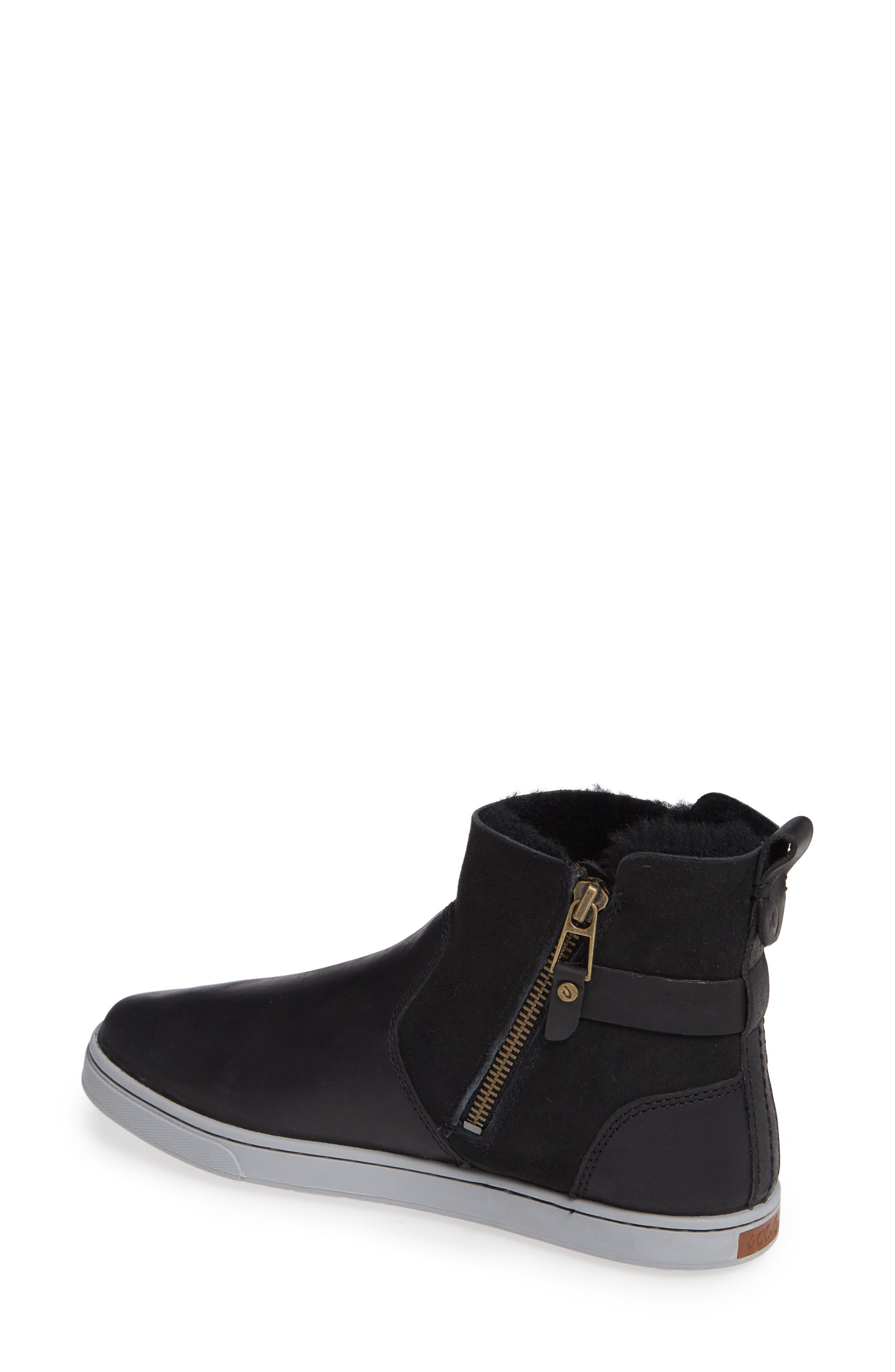Pehuea Pa'I Genuine Shearling Sneaker Boot,                             Alternate thumbnail 2, color,                             BLACK/ BLACK LEATHER