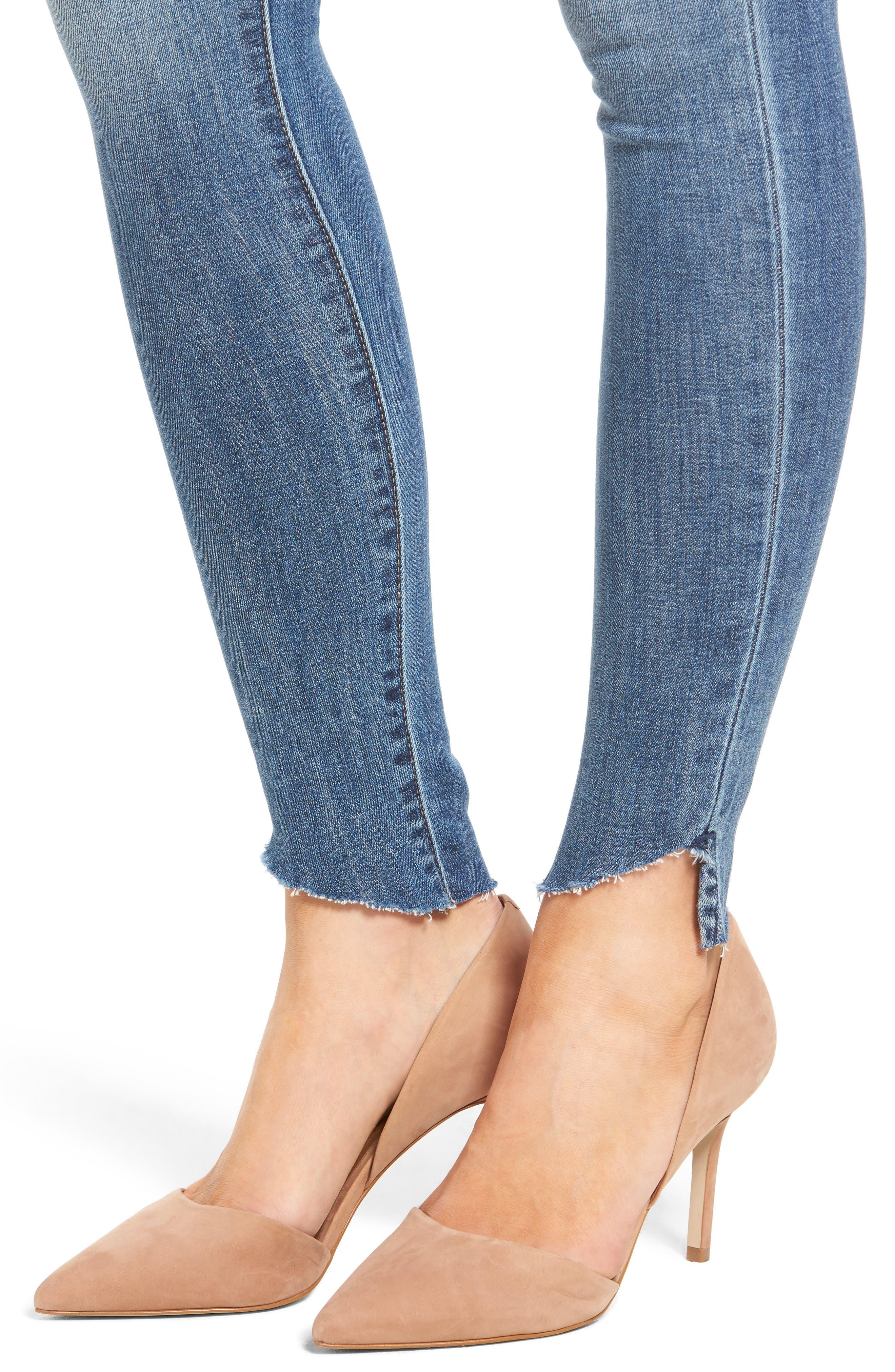 Decon Raw Edge High Waist Skinny Jeans,                             Alternate thumbnail 4, color,                             420