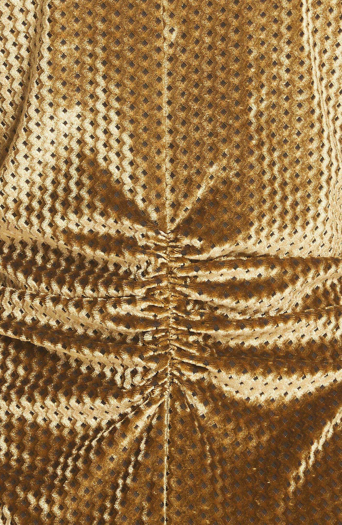 Ruched Velvet Jacquard Midi Dress,                             Alternate thumbnail 5, color,                             GOLD
