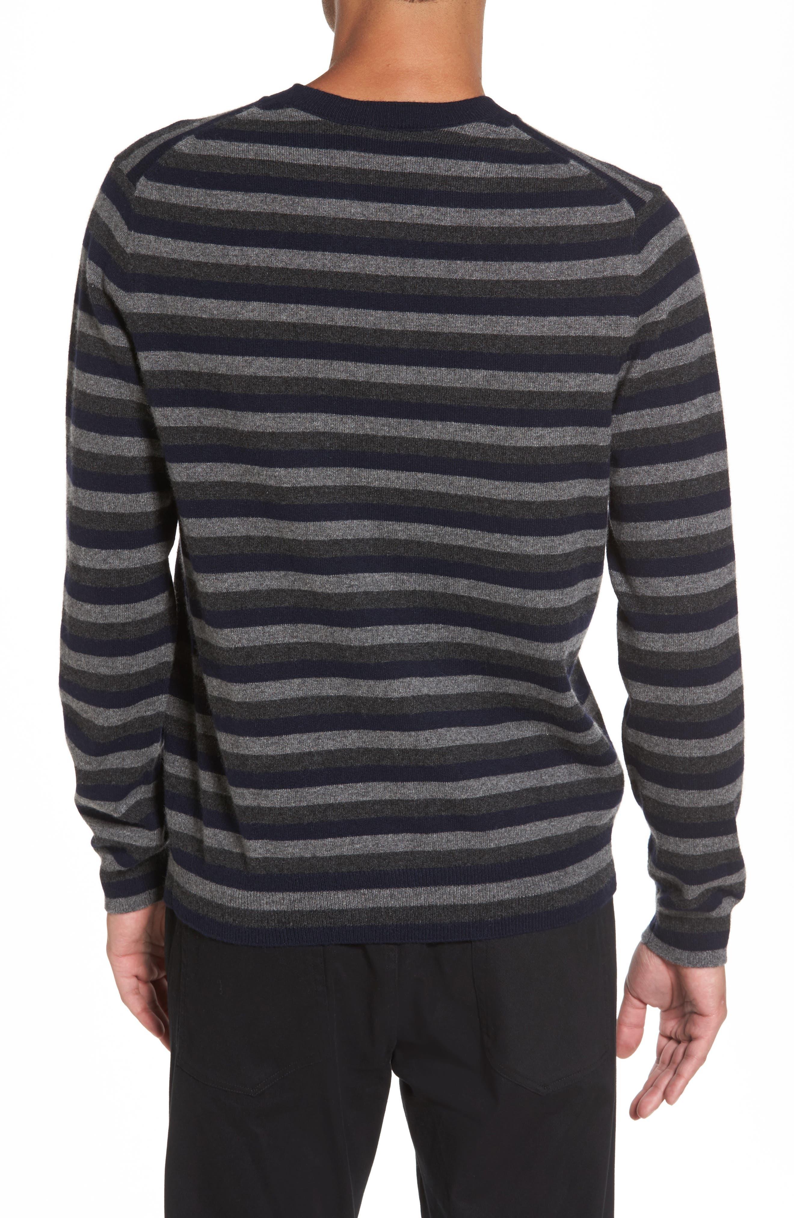 Stripe V-Neck Cashmere Sweater,                             Alternate thumbnail 2, color,                             406