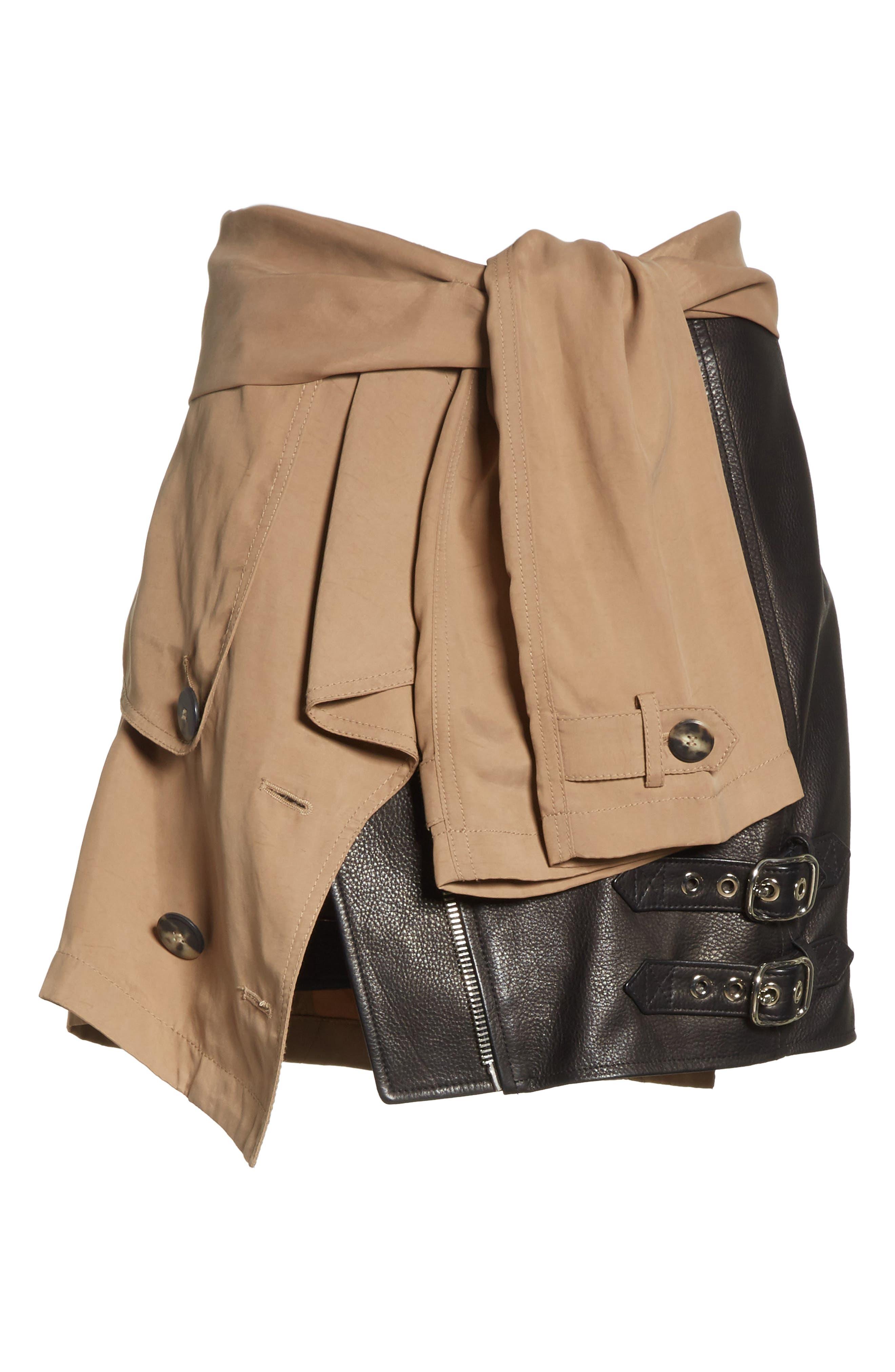 Trench Combo Leather Miniskirt,                             Alternate thumbnail 6, color,                             205