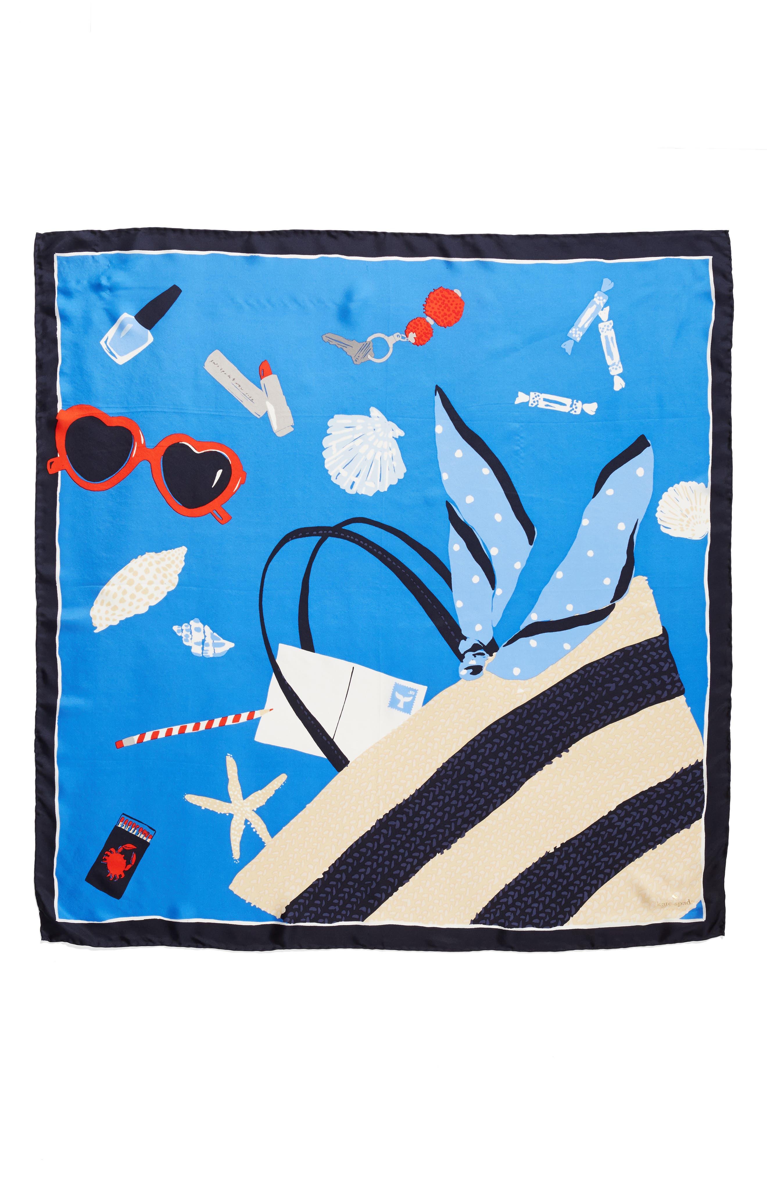 purse print square silk scarf,                             Alternate thumbnail 3, color,                             WILD CORNFLOWER