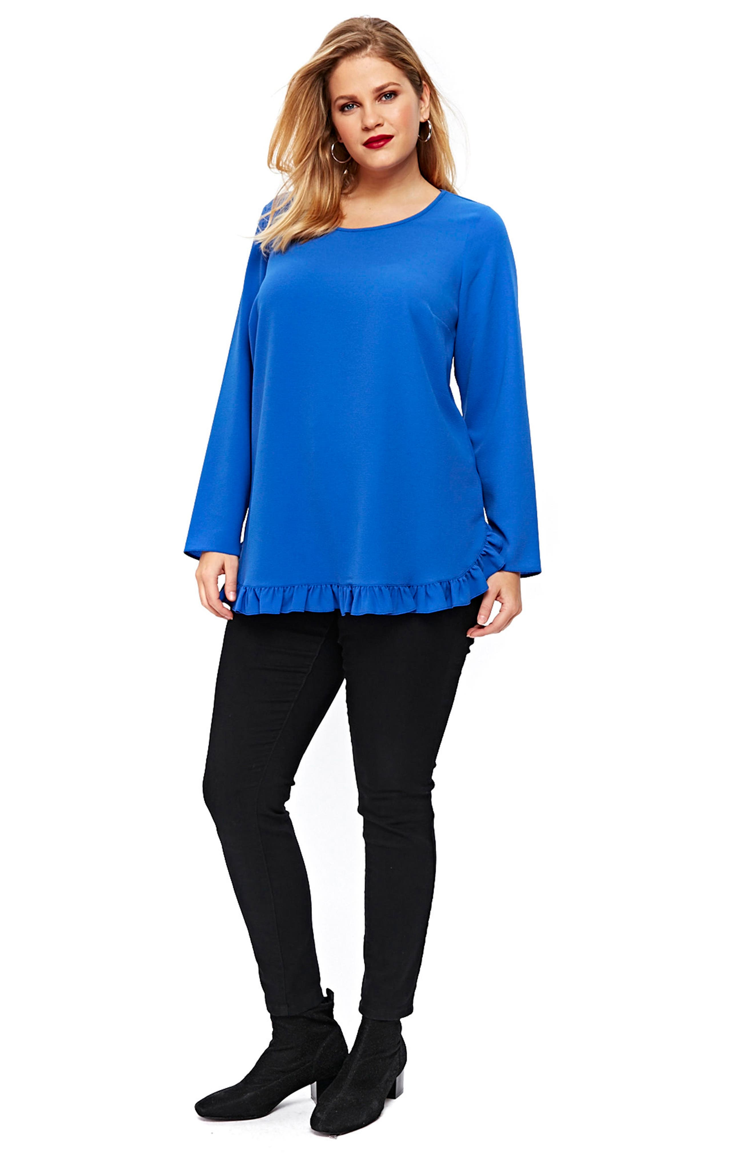 Ruffle Hem Top,                             Alternate thumbnail 4, color,                             400