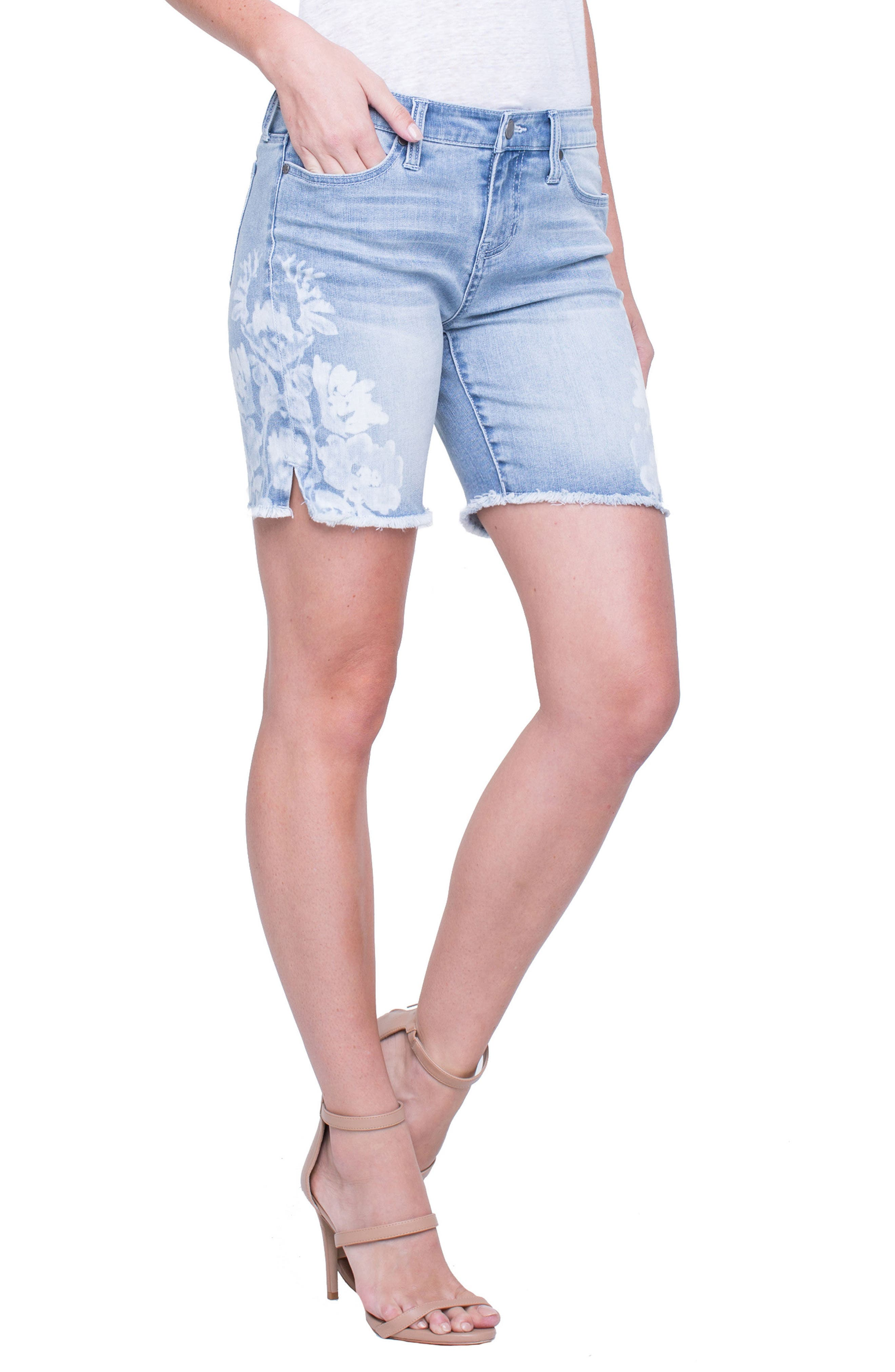 Corine Flower Frayed Denim Shorts,                         Main,                         color, MANDALAY LIGHT