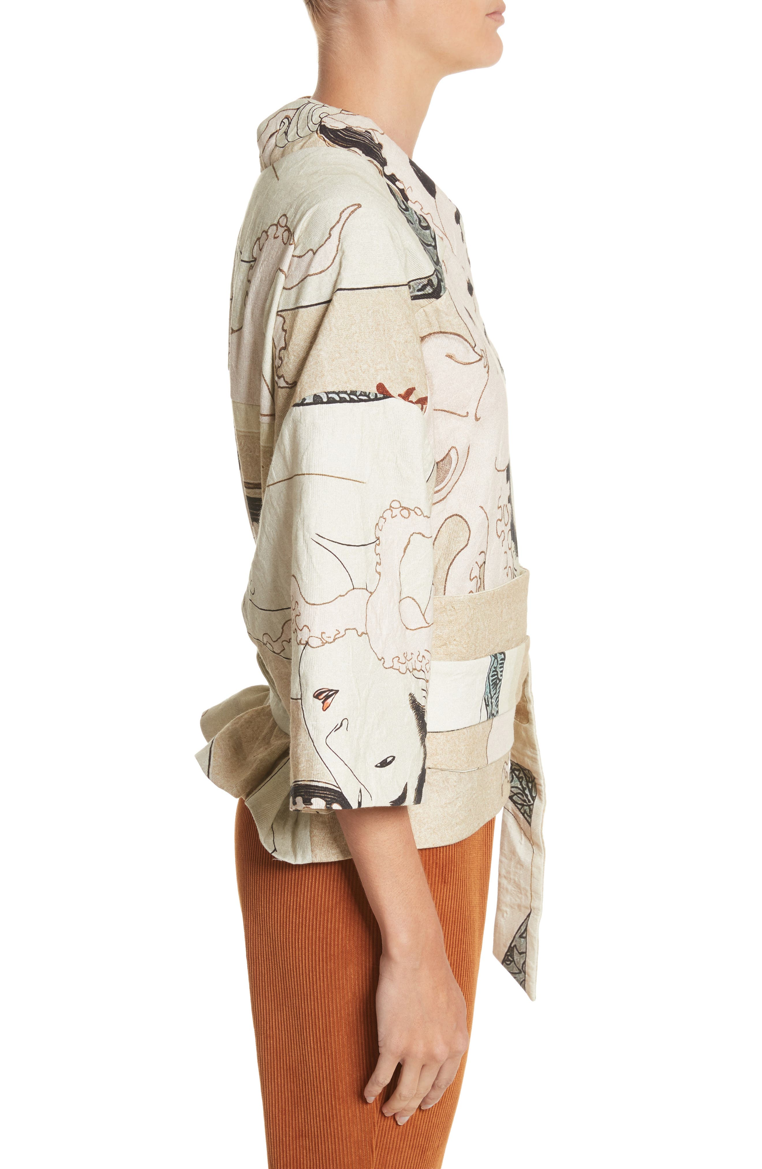 Printed Kimono Bomber Jacket,                             Alternate thumbnail 3, color,                             250