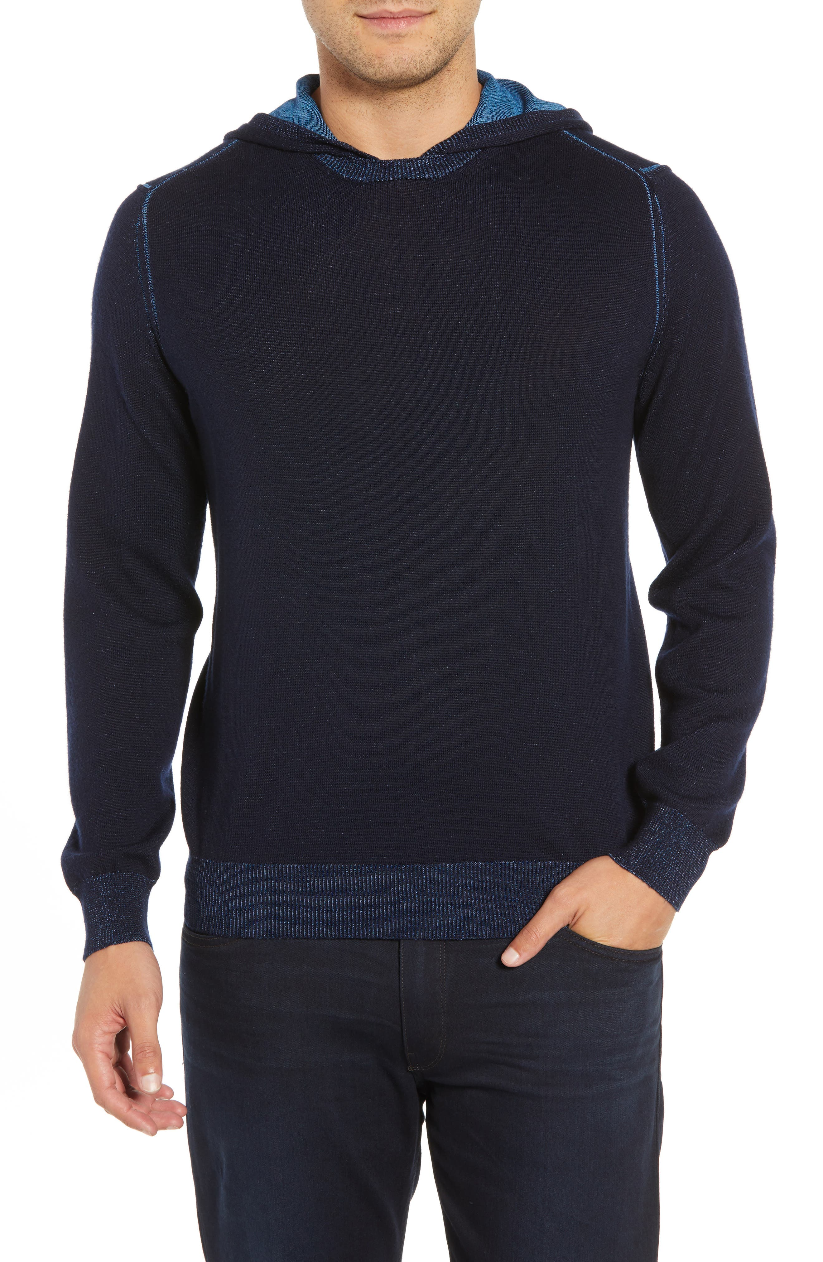 Hooded Pullover Sweater,                         Main,                         color, NIGHT BLUE